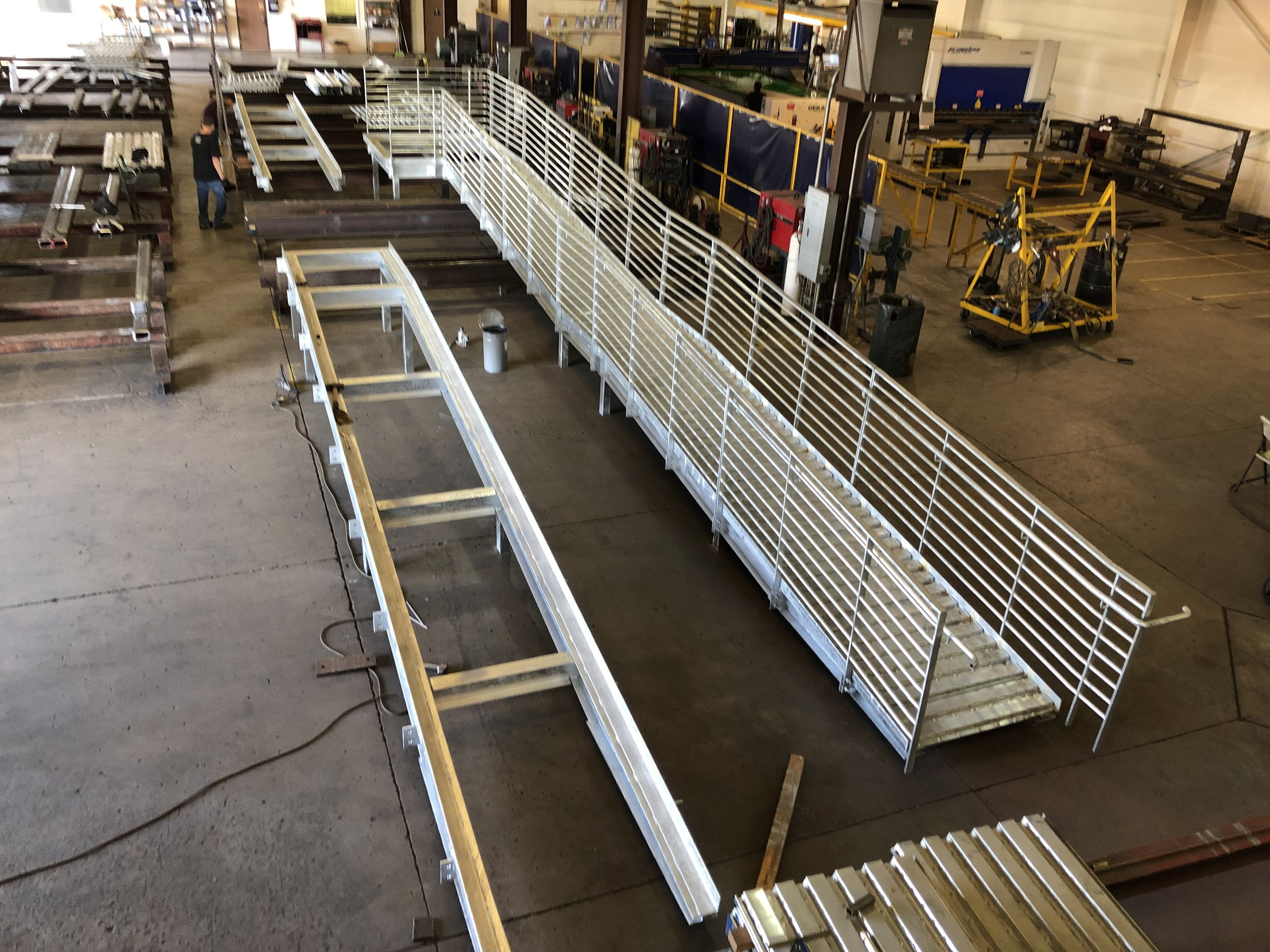 Exterior ramp being pre assembled in the shop to ensure fitment in the field