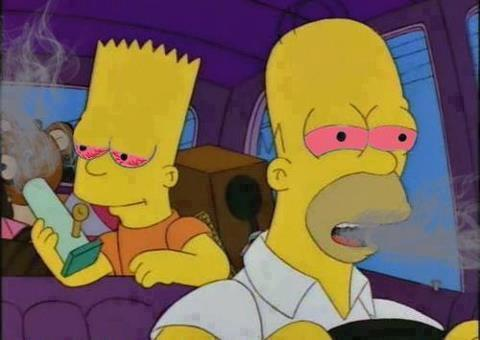 Homer and Bart pass the bong.