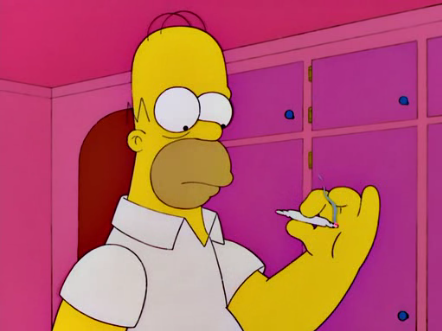 Homor Simpson enjoys a hit of marijuana.