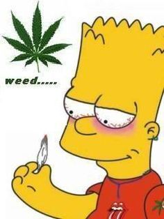 Bart Simpson fires up a joint.