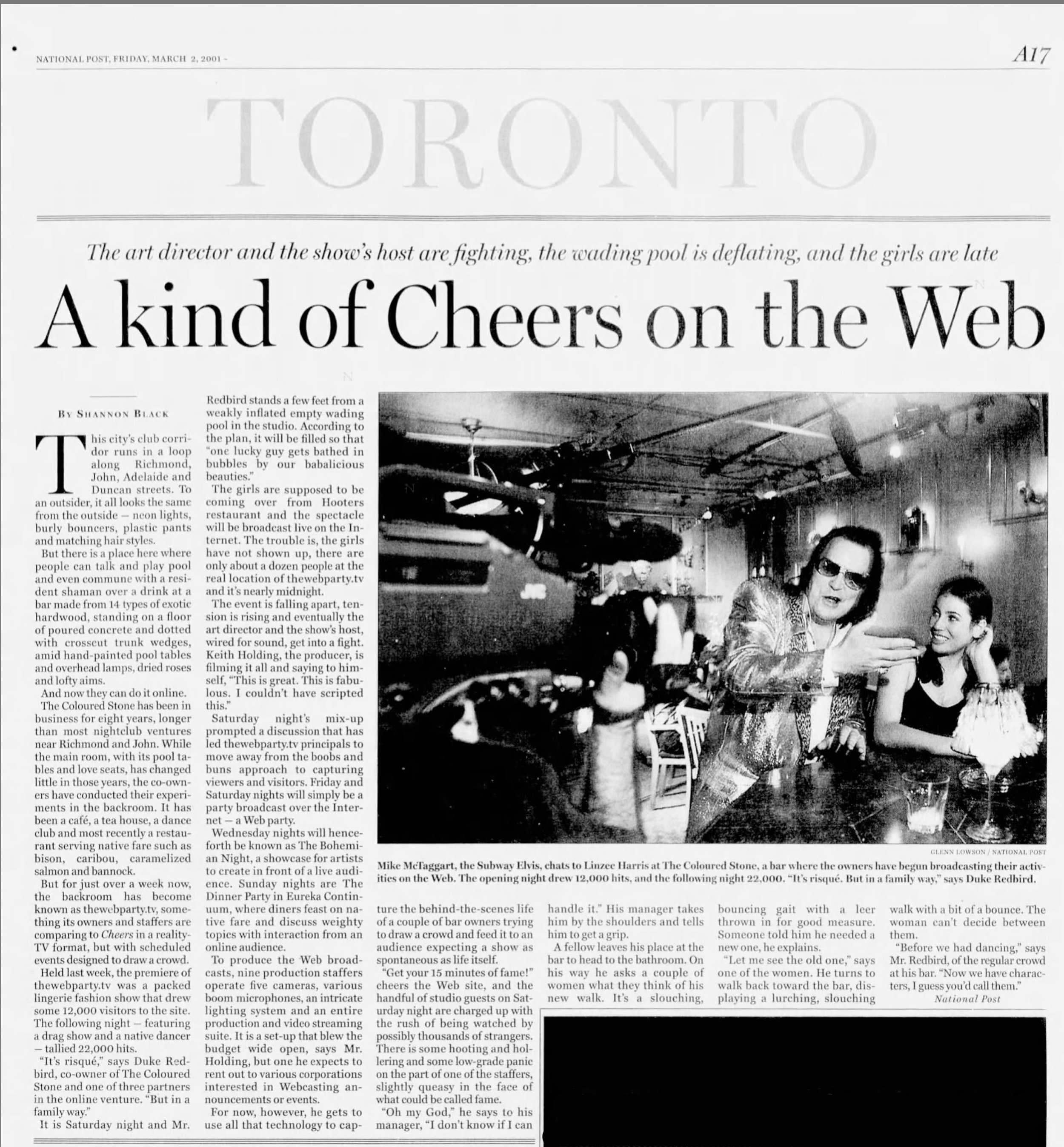 Coloured Stone article _A Kind of Cheers on the Web_ March 2 2001 National Post.jpg