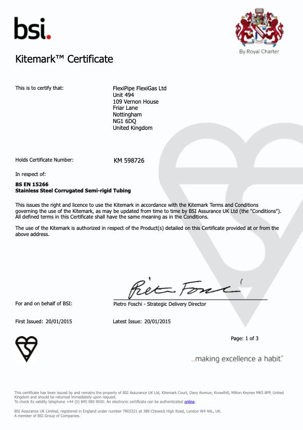 BSI KITEMARK CERTIFICATION - EN15266