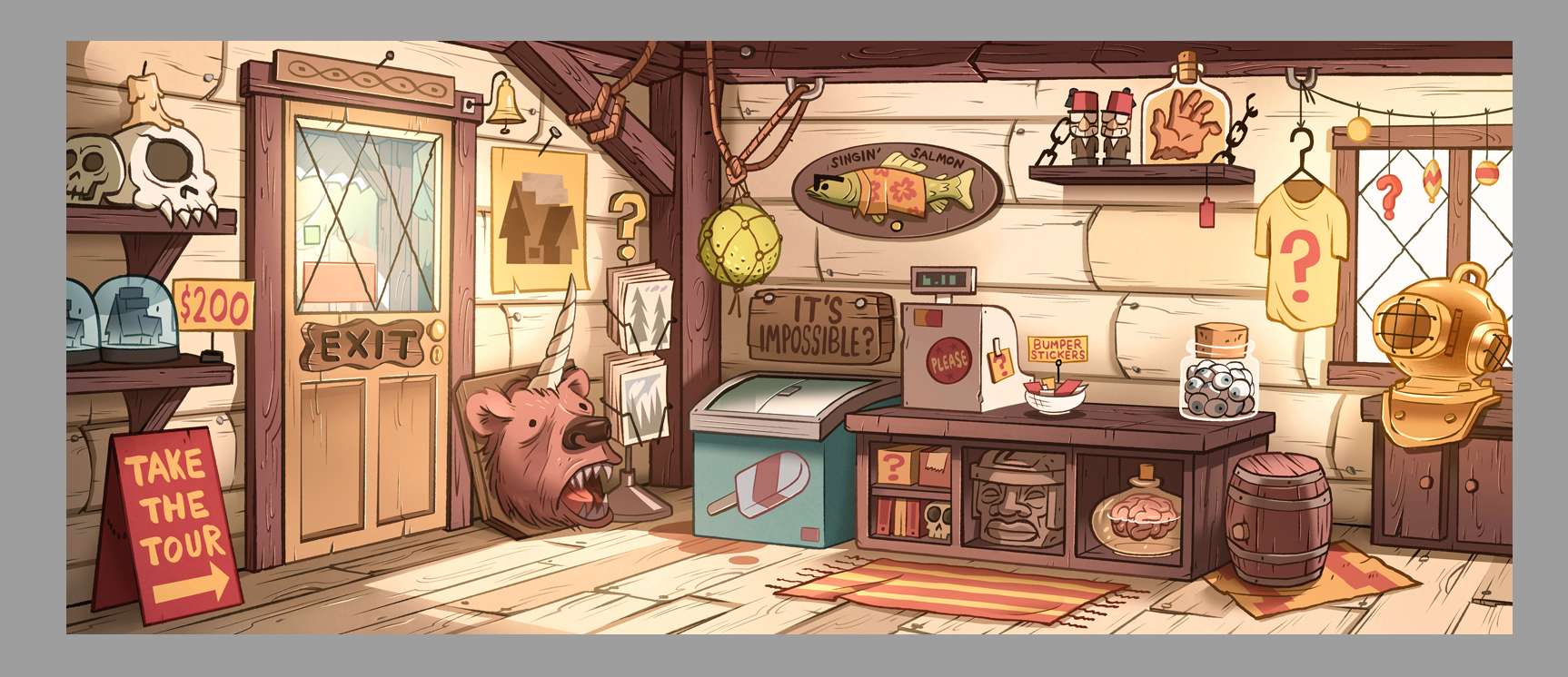 an early mystery shack gift shop bg key, painted by josh parpan for gravity falls season 1