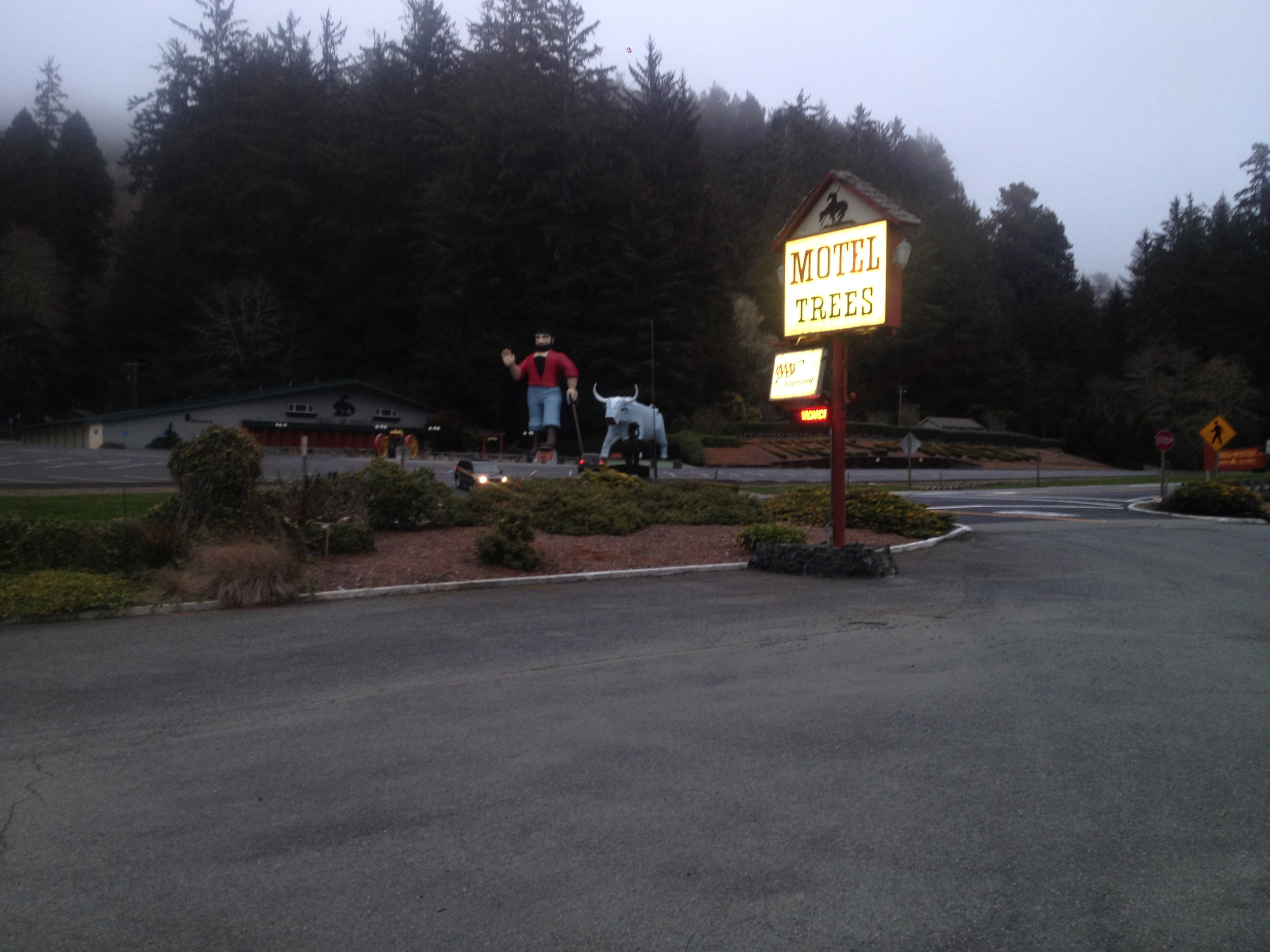 Staying at the Hotel Trees. Located at the foot of the famed Trees of Mystery and it's giant Paul Bunyan statue.