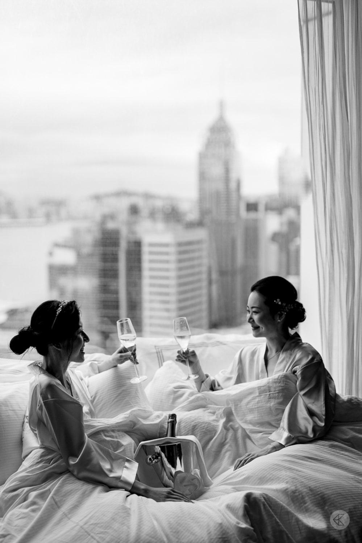 Bride & Maid of Honour toasting