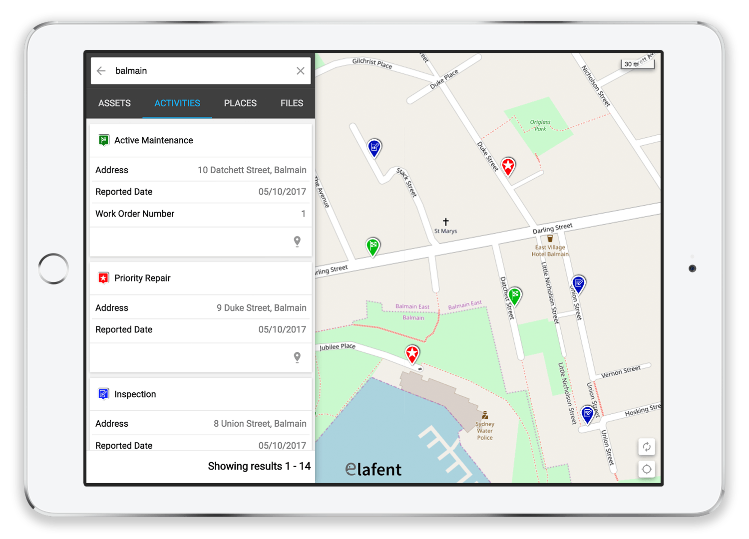 Large volumes of structured, semi structured and unstructured operational information can be effortlessly searched across through the Elafent app