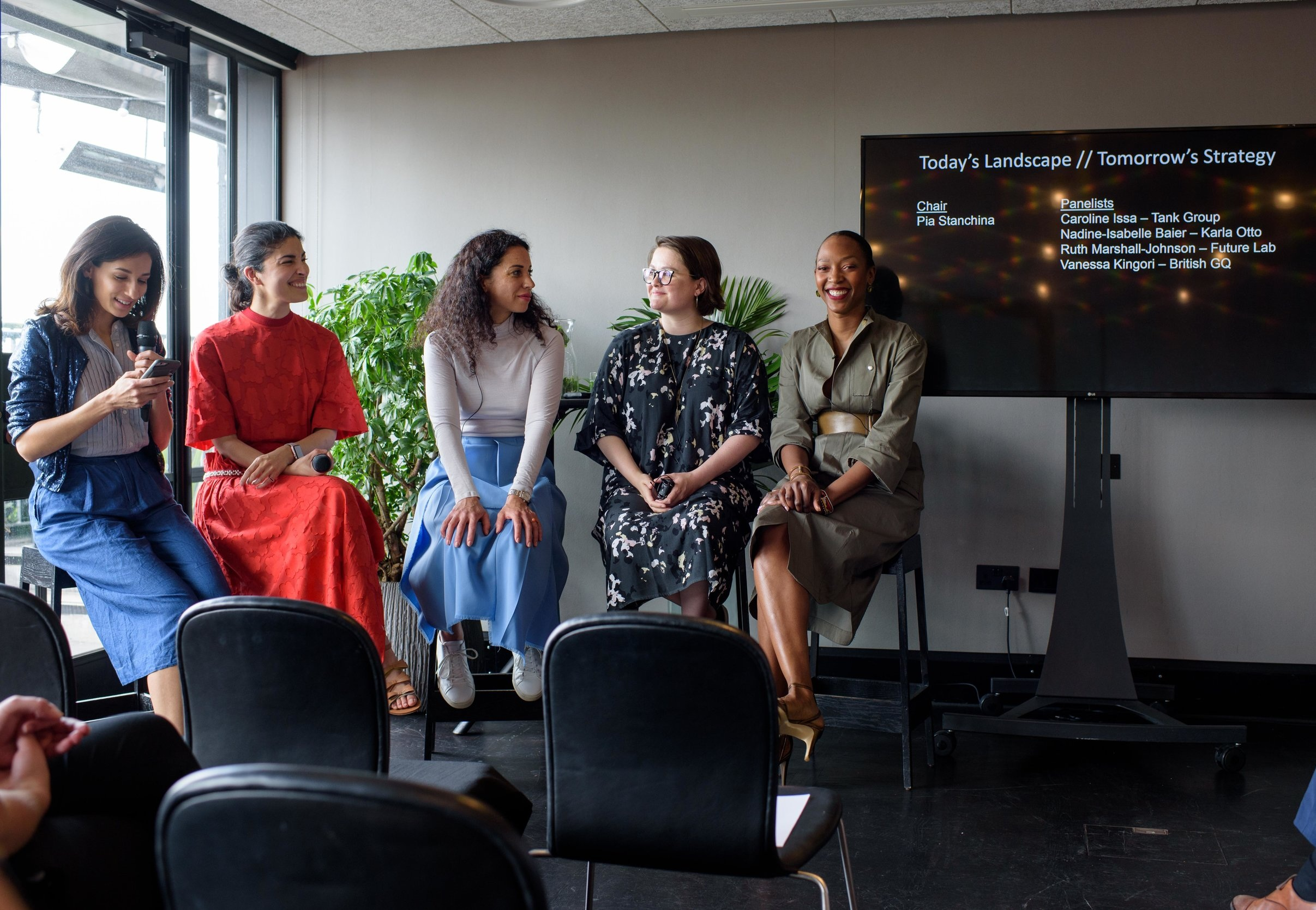 Moderating a Panel on Today's Landscape / Tomorrow's Strategy for The British Fashion Council's Annual Partner Forum with panelists Caroline Issa, Nadine Baier from Karla Otto, Ruth Marshall-Johnson from the Future Laboratory and Vanessa Kingori, British GQ
