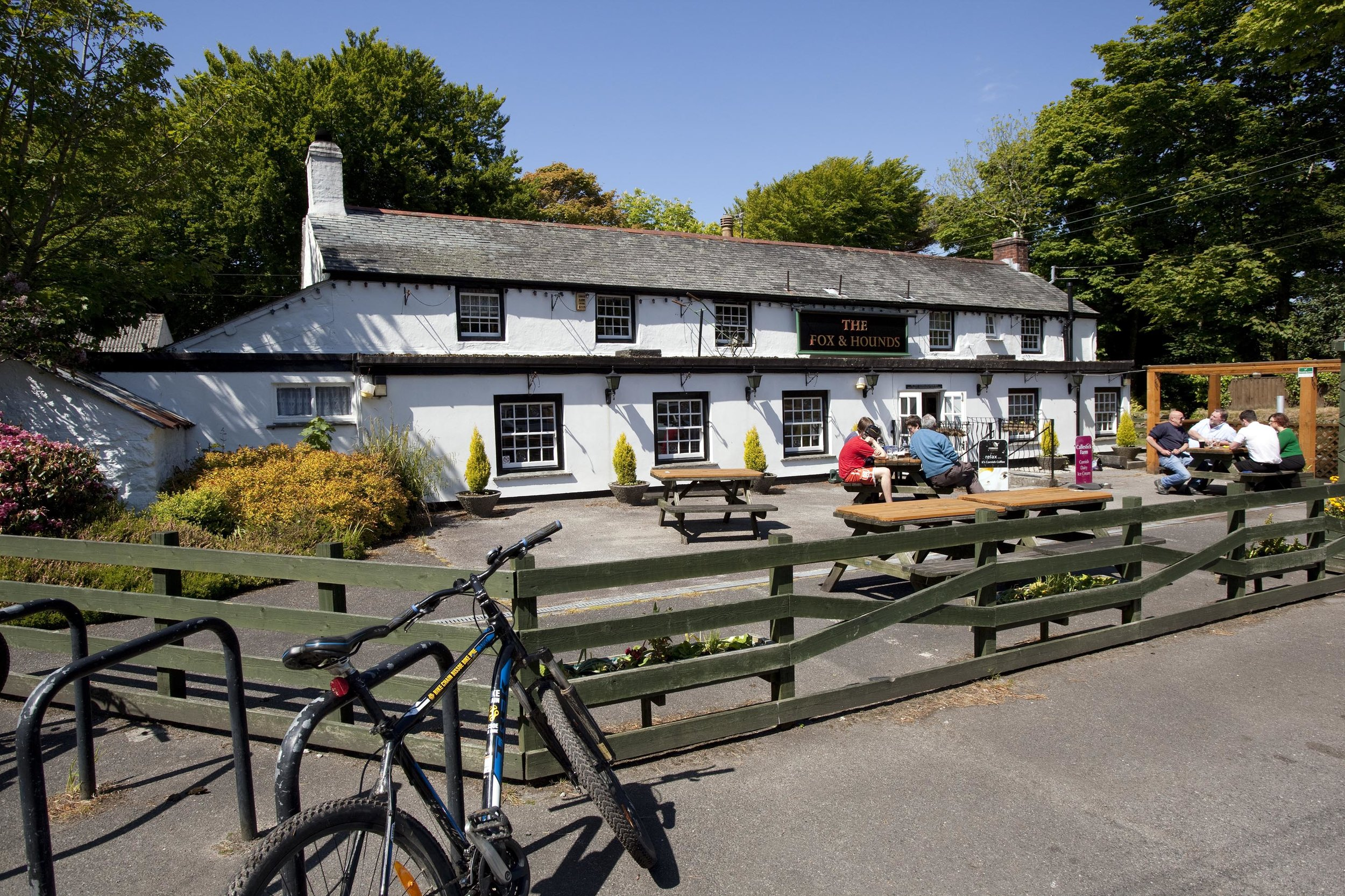 The Fox & Hounds, Scorrier - A picture-postcard pub less than a mile from the Brewery as the crow flies. Conveniently situated on the cycle trail, with a garden and a very large car park.