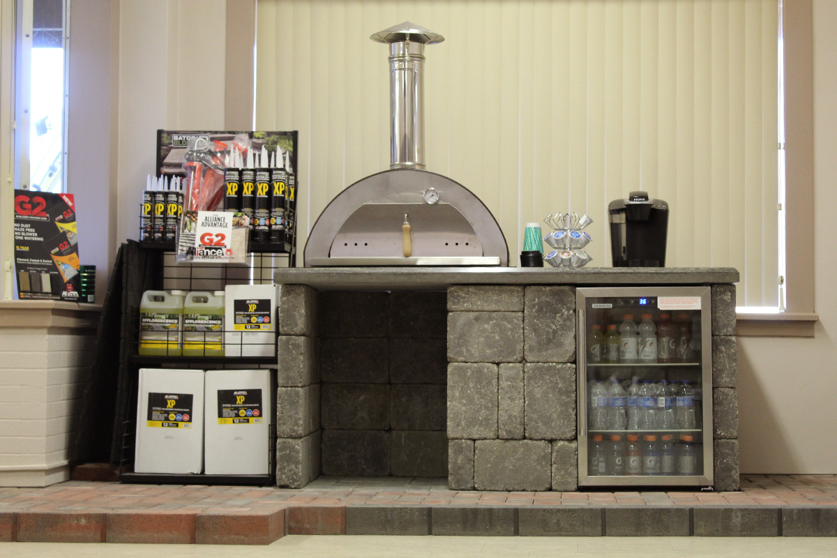 for all your outdoor projects - From mortar, levels, and tools to rock bubblers and rock engraving, stop by the showroom and talk to one of our experts about your next project. Need a little inspiration, view our gallery for a sampling of what our products can create.FEATURING: ROCKWOOD PIZZA OVEN