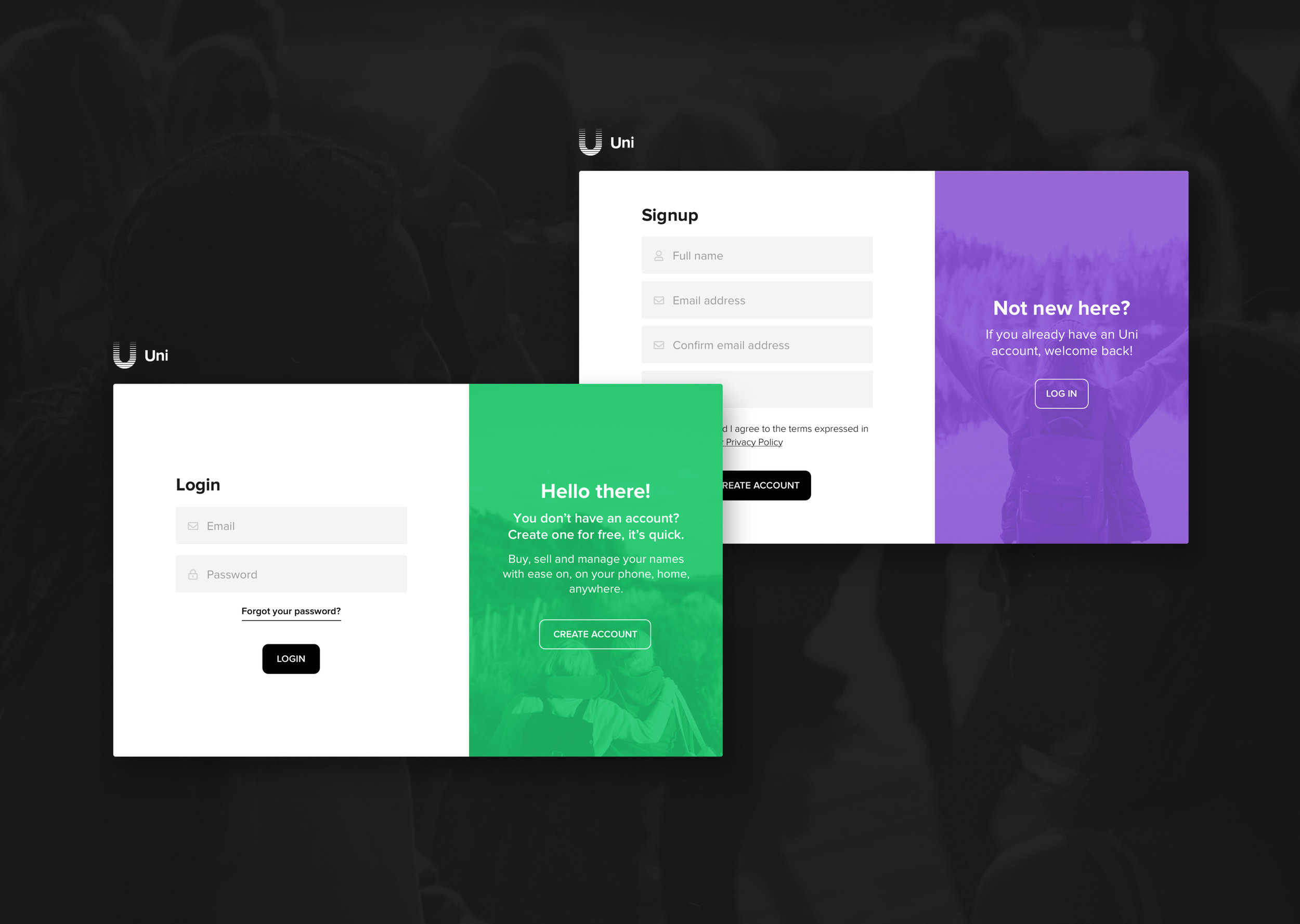 Uniregistry.com redesign (login/signup)