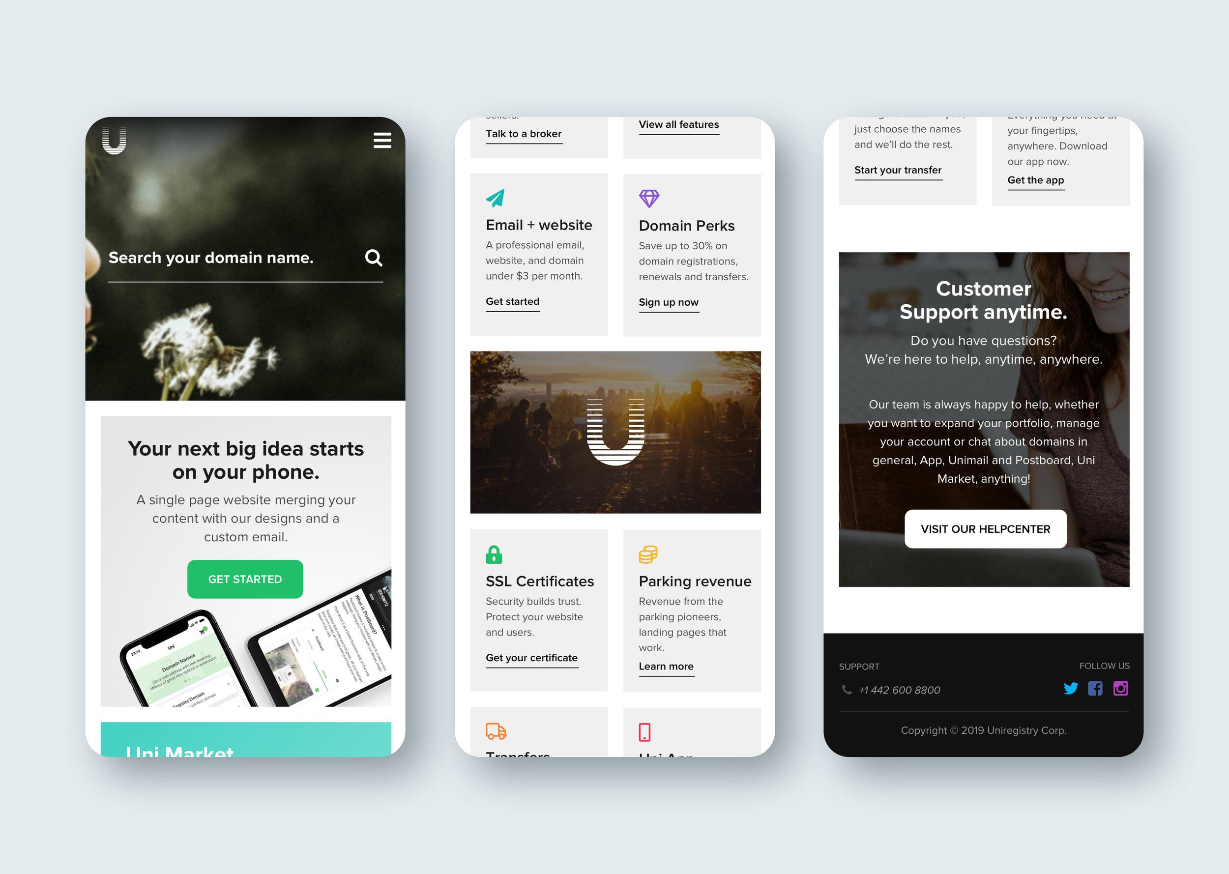 Uniregistry.com redesign (mobile)