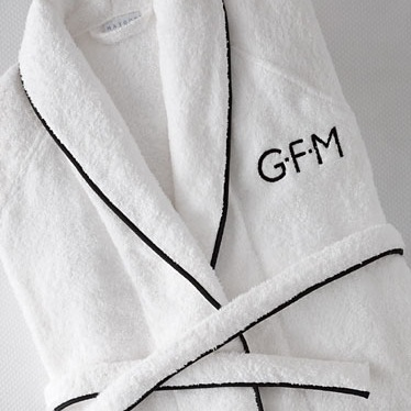 Luxurious unisex turkish cotton bath robes with custom Greencrest monogram. $125 each, or set of 2 for $225.