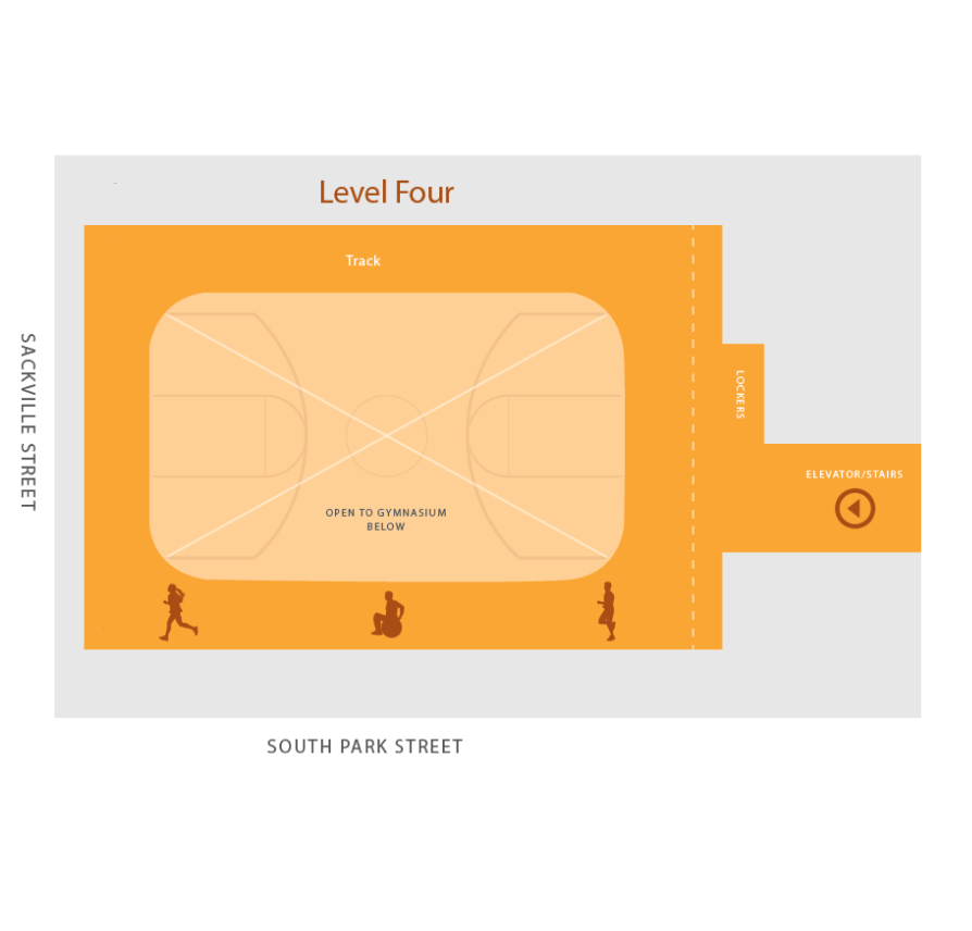 Floor plan of level four of the YMCA John W. Lindsay facility