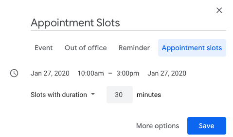 Appointment slots google calendar 2020