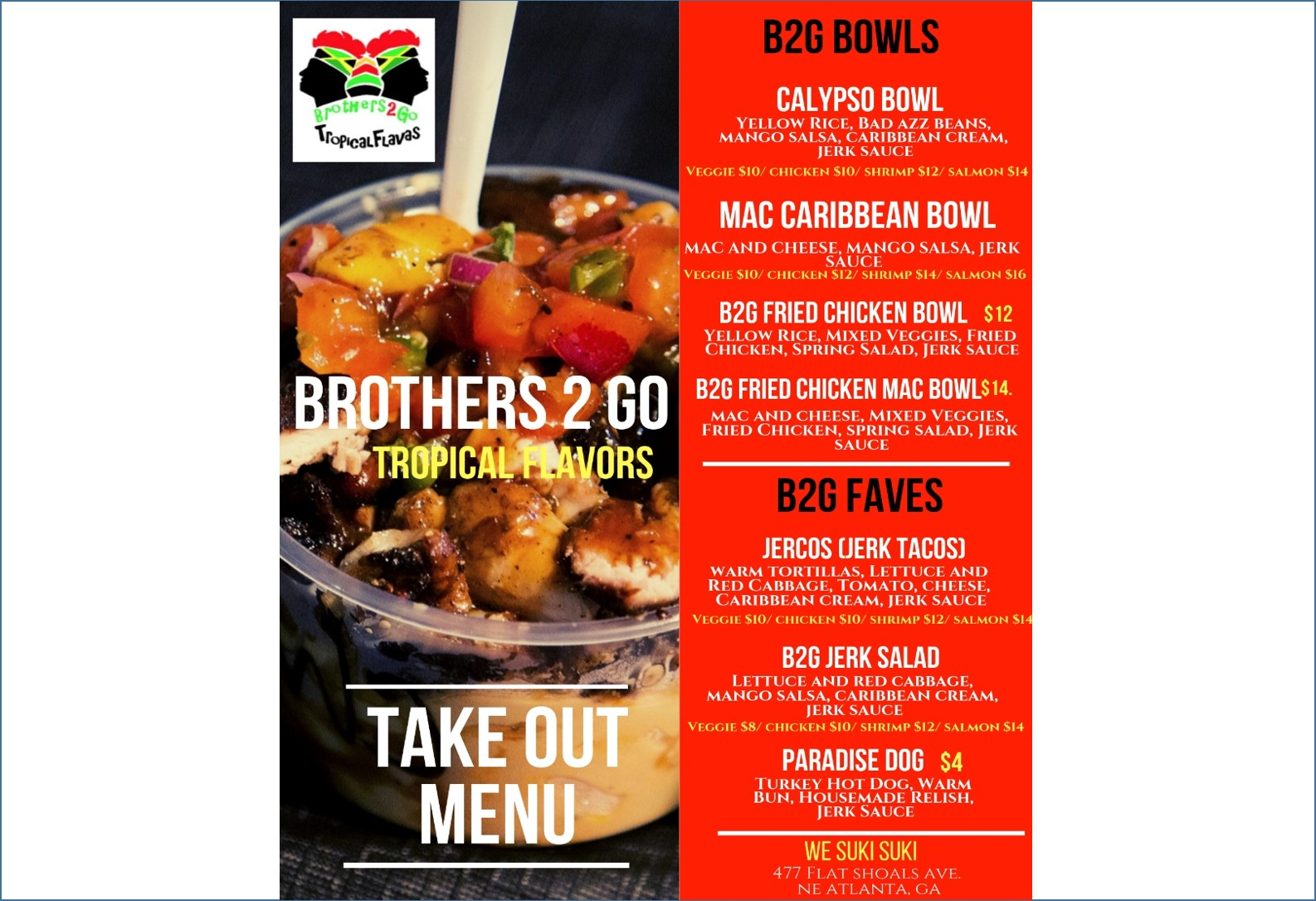 BROTHERS 2 GO TAKE OUT MENU