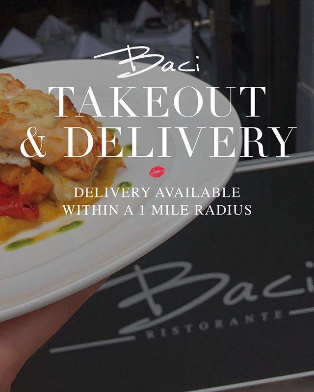 We now offer takeout and delivery! Enjoy your favorite Baci dishes anywhere! 💋 Call 718-333-5879