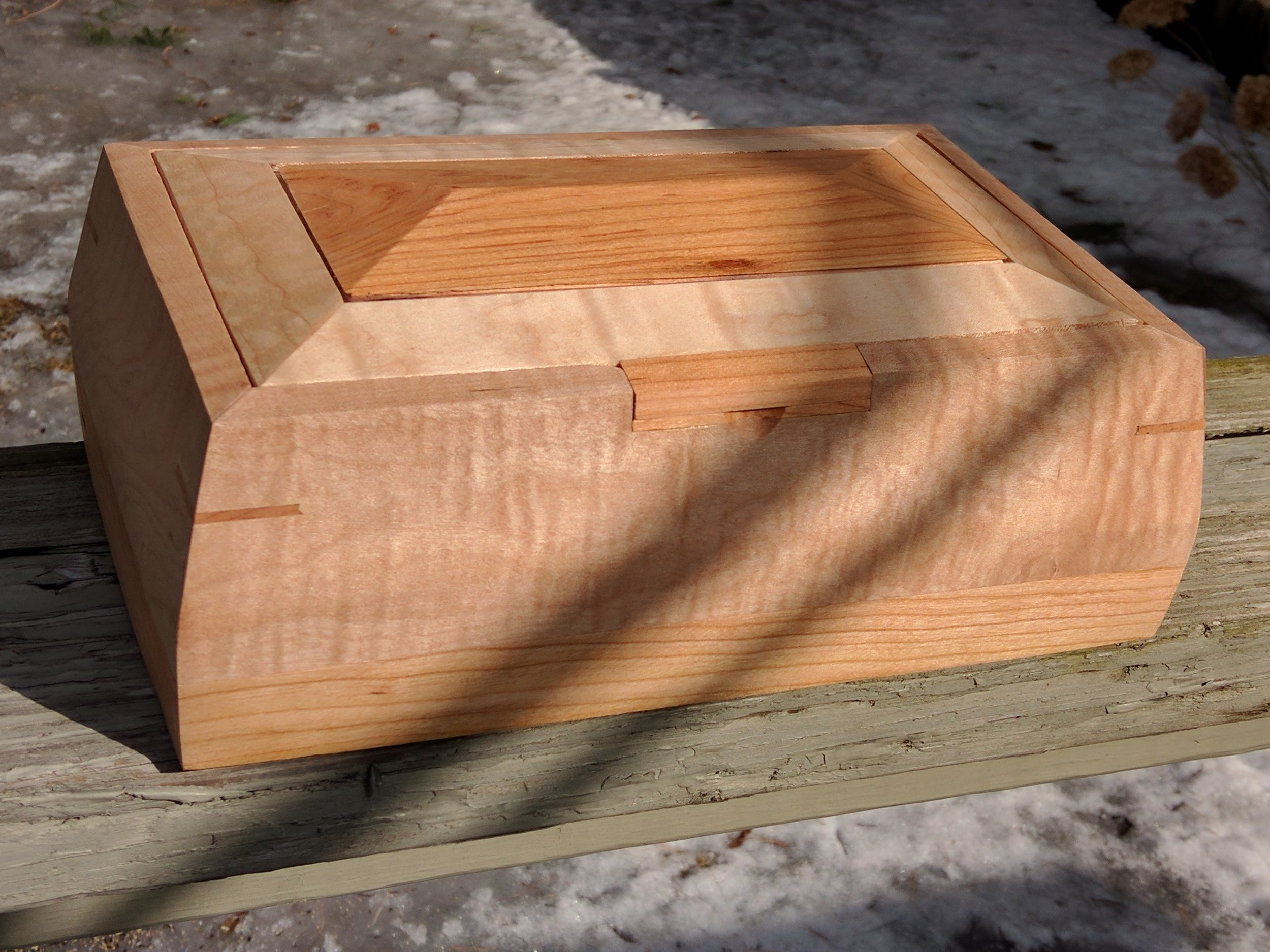 Tiger Maple and Cherry Sculpted Box
