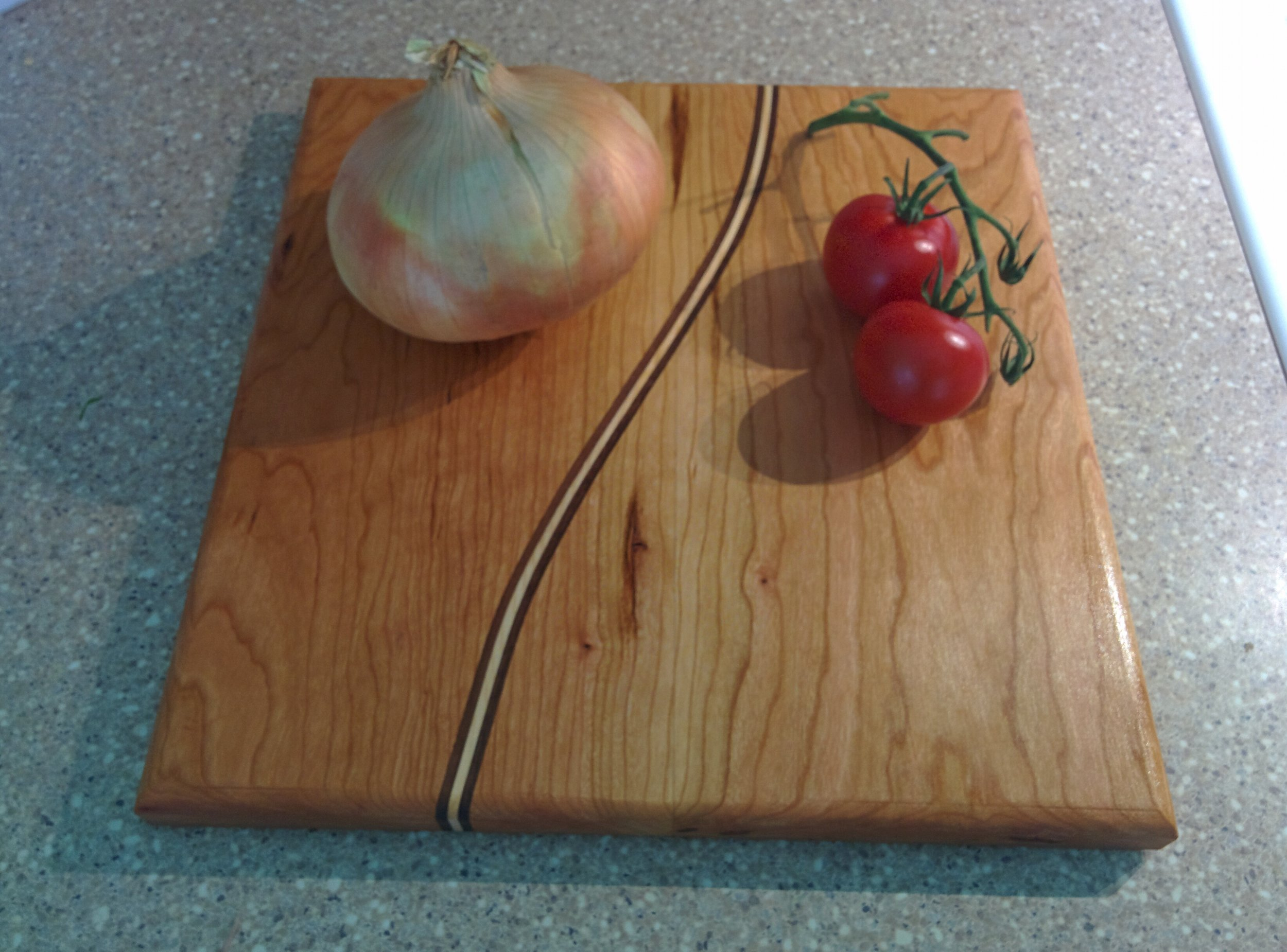 Hard Maple Cutting Board with Walnut Inlay