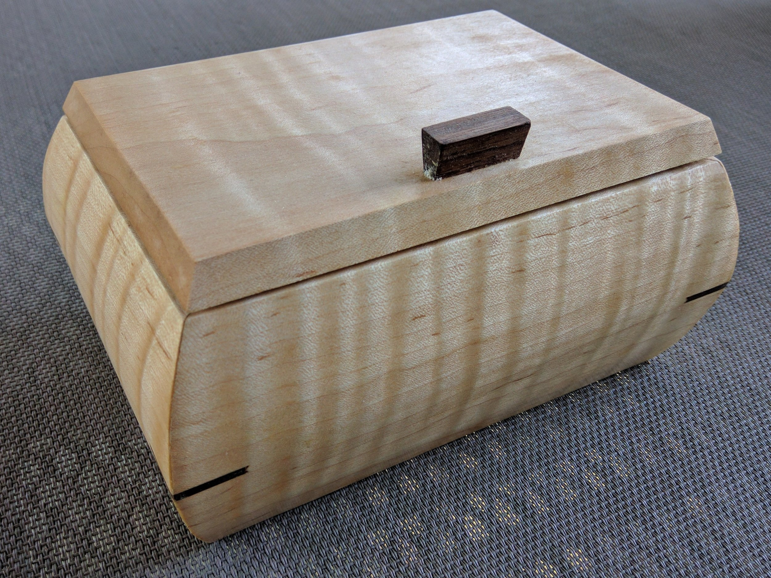 Tiger Maple Sculpted Box with mitered splines and curved sides