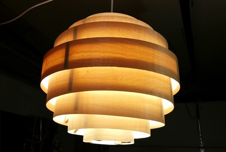 Birdseye Maple Hanging Globe Light