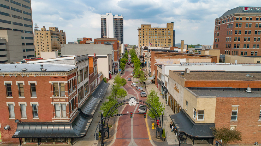 Aerial of Downtown Main Street Evansville