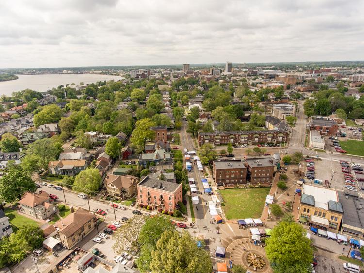 Aerial picture of Downtown Evansville Haynie's Corner