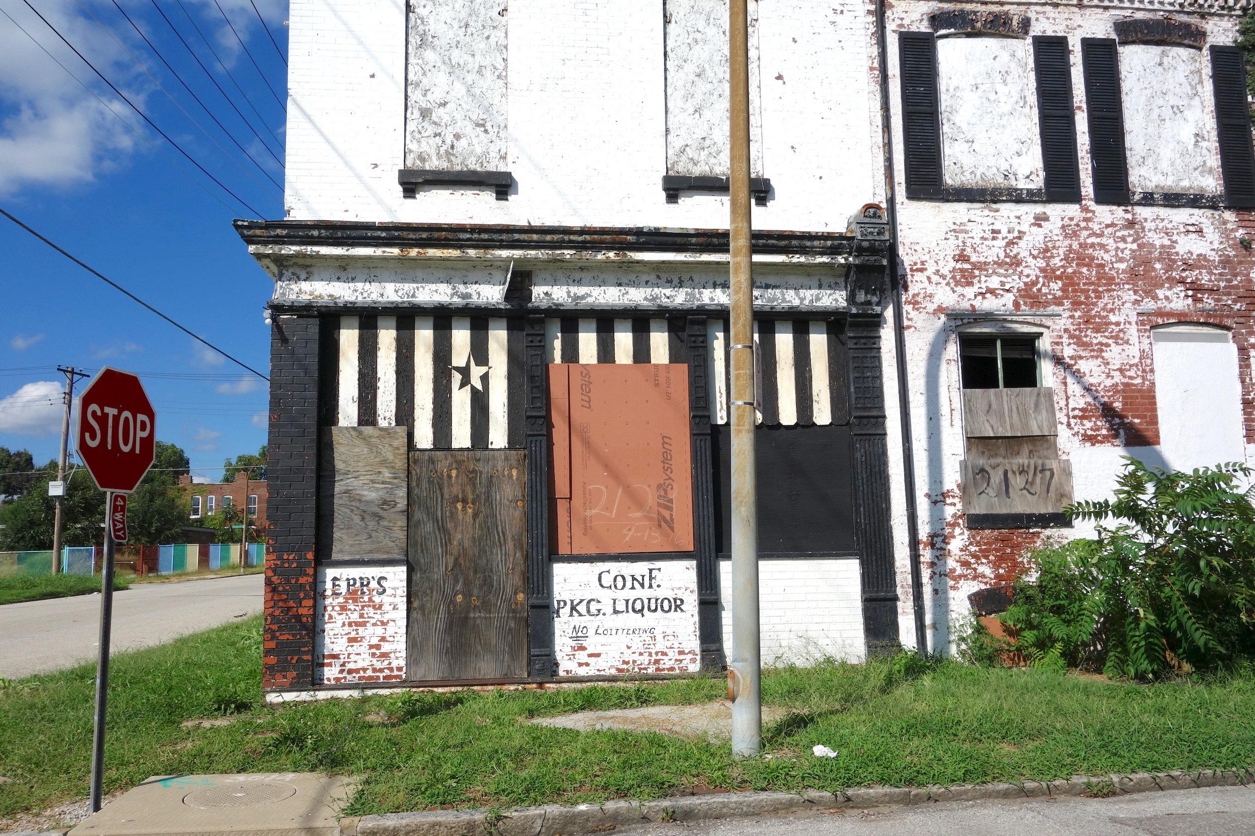 Figure 13. Vacant corner commercial building, St. Louis, 2016. Photograph by Joseph Heathcott.