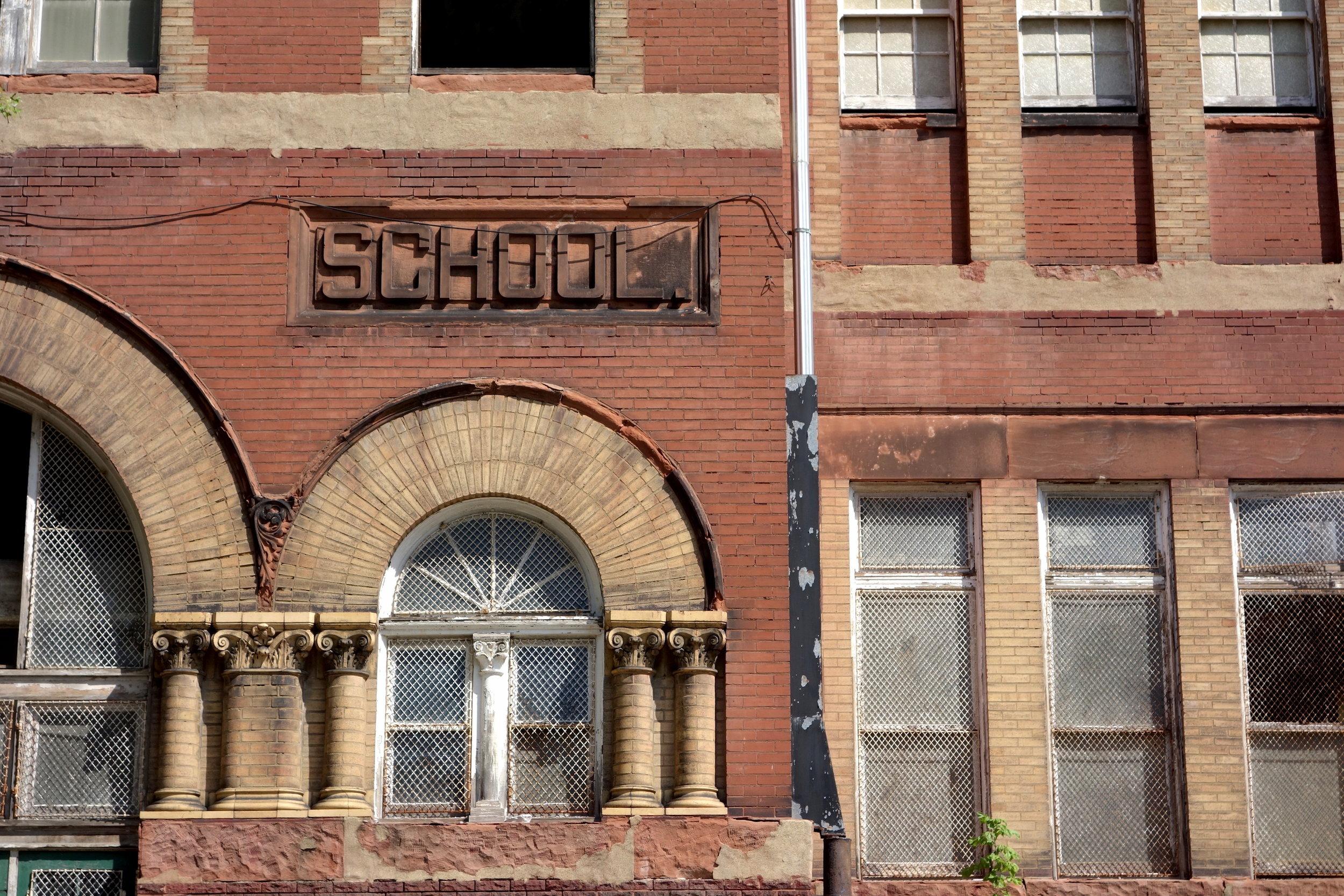 Figure 19. Harrison Elementary School, built in 1895, now vacant in St. Louis, 2016. Photograph by Joseph Heathcott.
