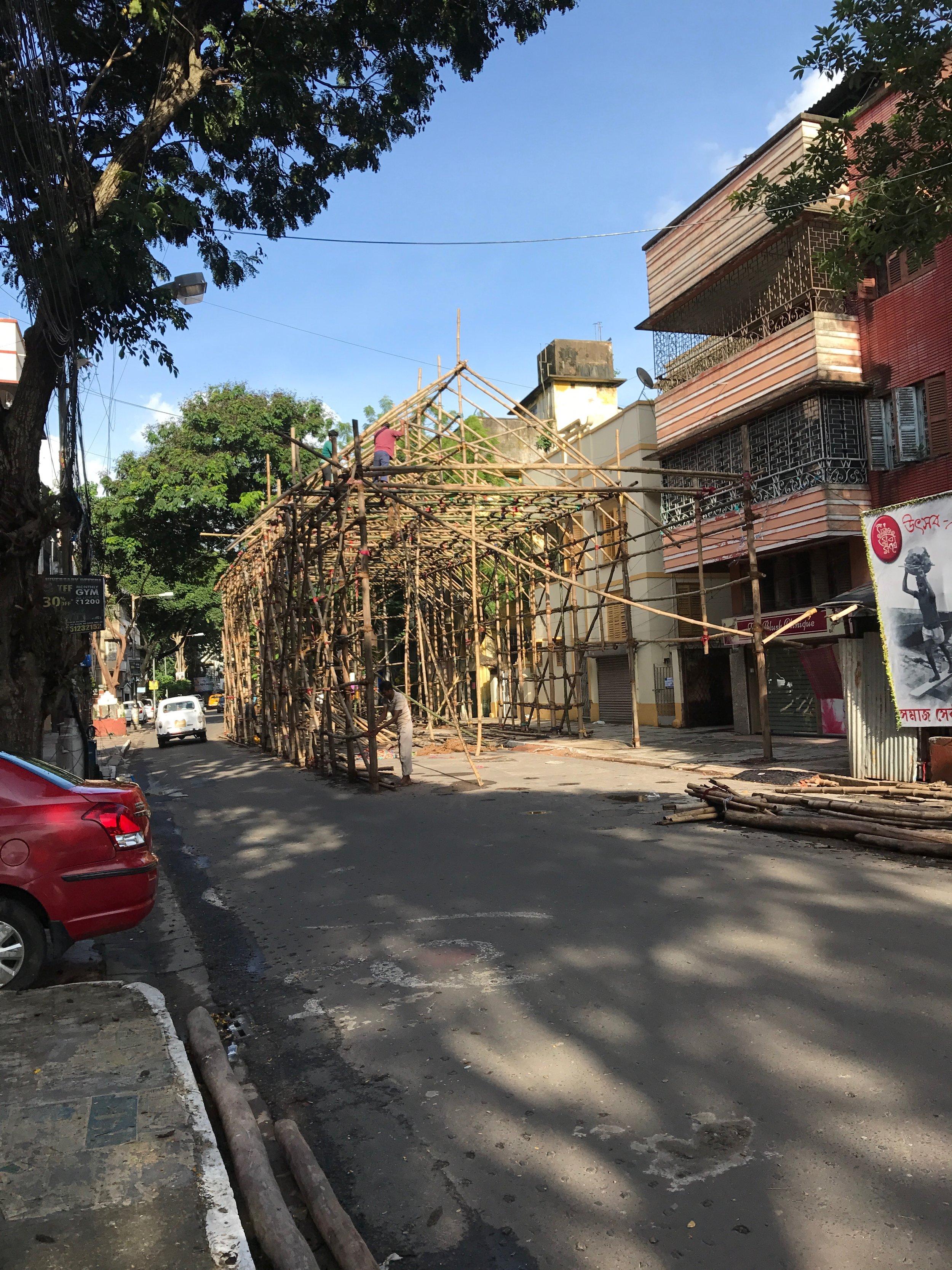Figure 6.  Pandal  under construction, Kolkata, 2018. Copyright Swati Chattopadhyay.