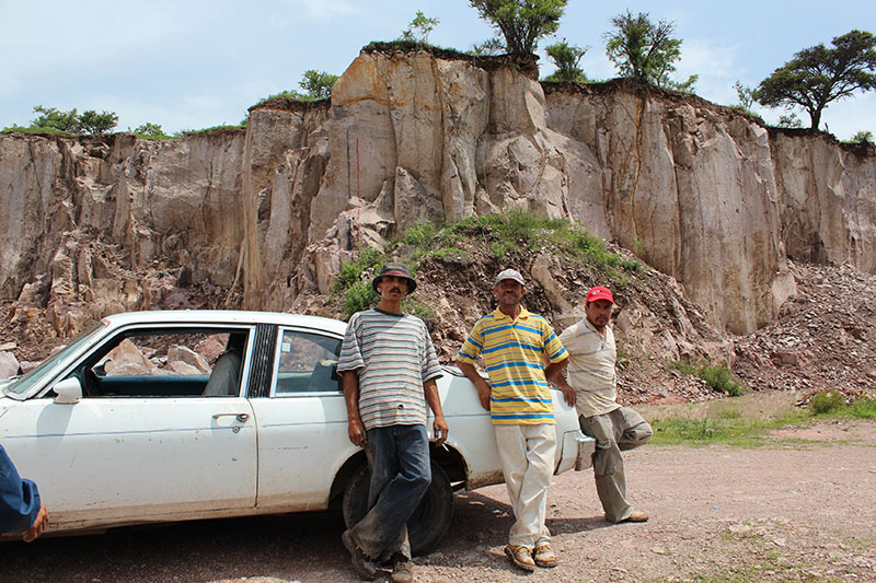Figure 1. Men working at a cantera quarry on break, Jalisco, Mexico. Photograph by Sarah Lopez, August, 2012.