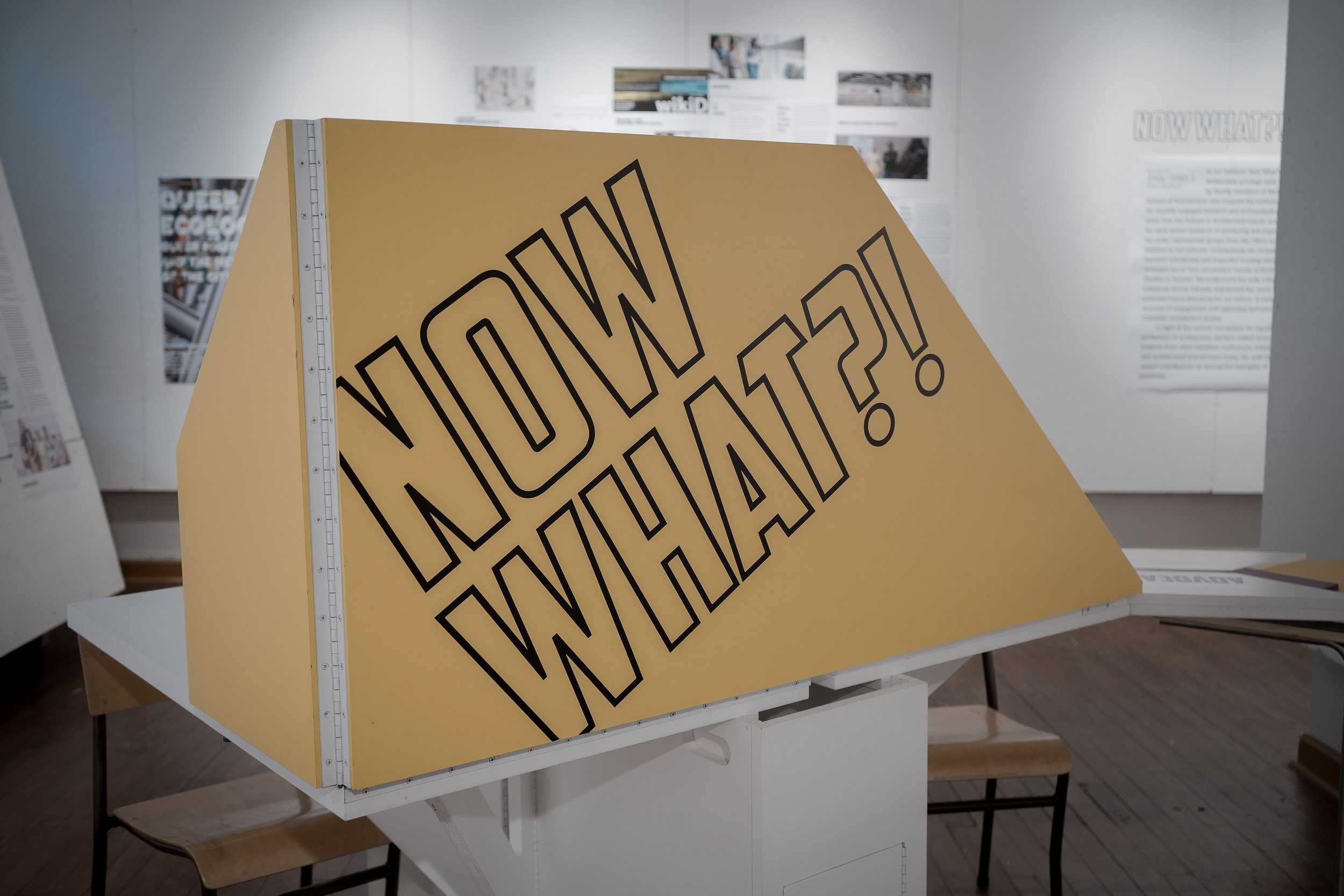 Figure 1. The bold graphics of the exhibit call attention to architectural activism since 1968.  Now What?! , McGill University, Montreal. Photograph by Michael Kurt Mayer, 2019.
