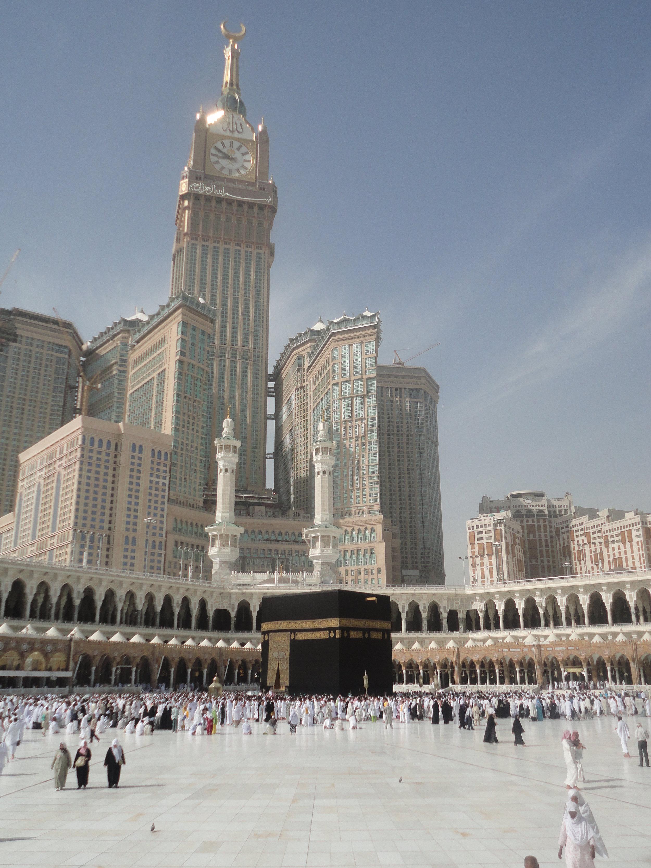 Figure 2. The Ka'ba with Abraj al Bait Towers in the background, May 5, 2012. Copyright Kishwar Rizvi.
