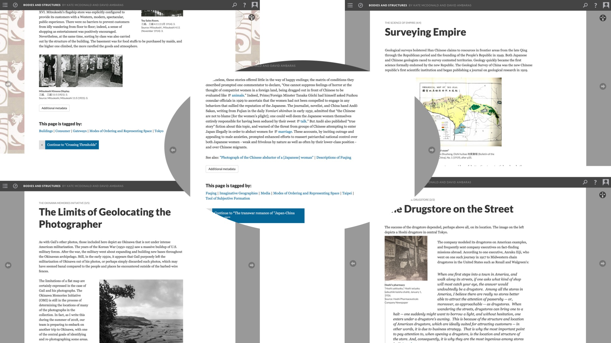 """Figure 5. Using tag relationships to explore how events and actors construct and reconstruct places and their meanings within shifting imperial contexts. The tag """"Modes of Ordering and Representing Space"""" in David Ambaras's page on """"abduction-captivity narratives centered on Fuqing"""" (center) connects users to other similarly tagged pages. From upper left to bottom right: Noriko Aso's """"Gateway to Western Wonders,"""" Shellen Wu's """"Surveying Empire,"""" Dustin Wright's """"The Limits of Geolocating the Photographer,"""" and Timothy Yang's """"The Drugstore on the Street."""" May 1, 2019. Credit: David R. Ambaras and Kate McDonald."""