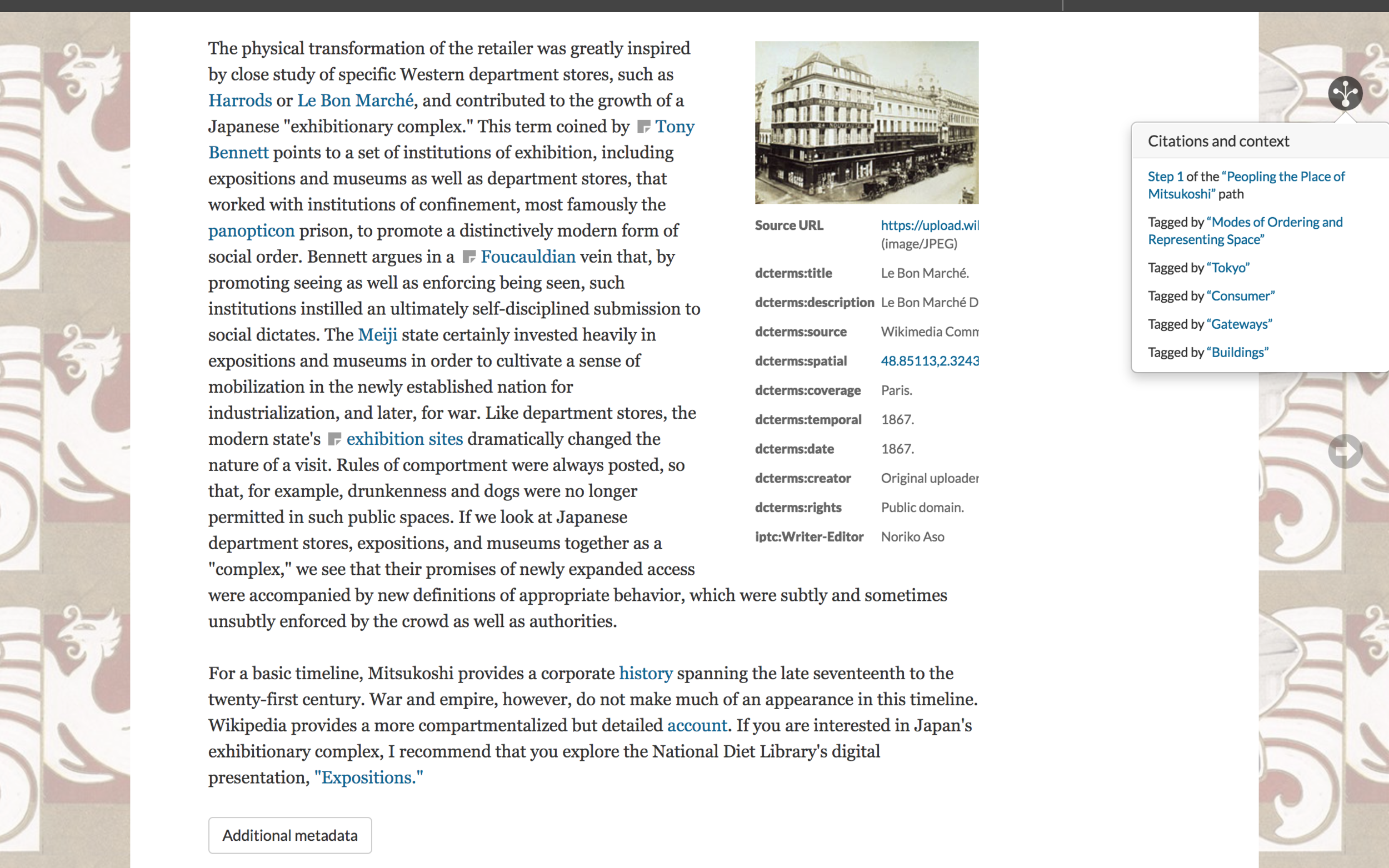 "Figure 1. A section of a page from the ""Mitsukoshi: Consuming Places"" module (by Noriko Aso) in  Bodies and Structures,  May 1, 2019. The page displays hyperlinked scholarly text, images with metadata, links to all tags applied to the page, and a box containing the page's geospatial and other author-added metadata, which can be toggled open/closed using the ""Additional metadata"" button. Credit: Noriko Aso, David R. Ambaras and Kate McDonald."