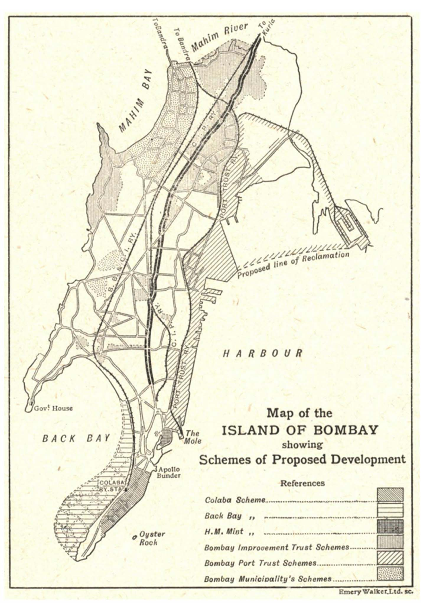 "Figure 1. ""Map of the Island of Bombay showing Schemes of Proposed Development,"" c. 1921. The lines of double thickness show the Eastern Avenue. By 1921, the construction of this street was finished, running from a few yards from Crawford Market in the south to Mahim in the north. Source: George Curtis, ""The Development of Bombay,""  Journal of the Royal Society of the Arts  69, no. 3582 (July 15, 1921): 565."
