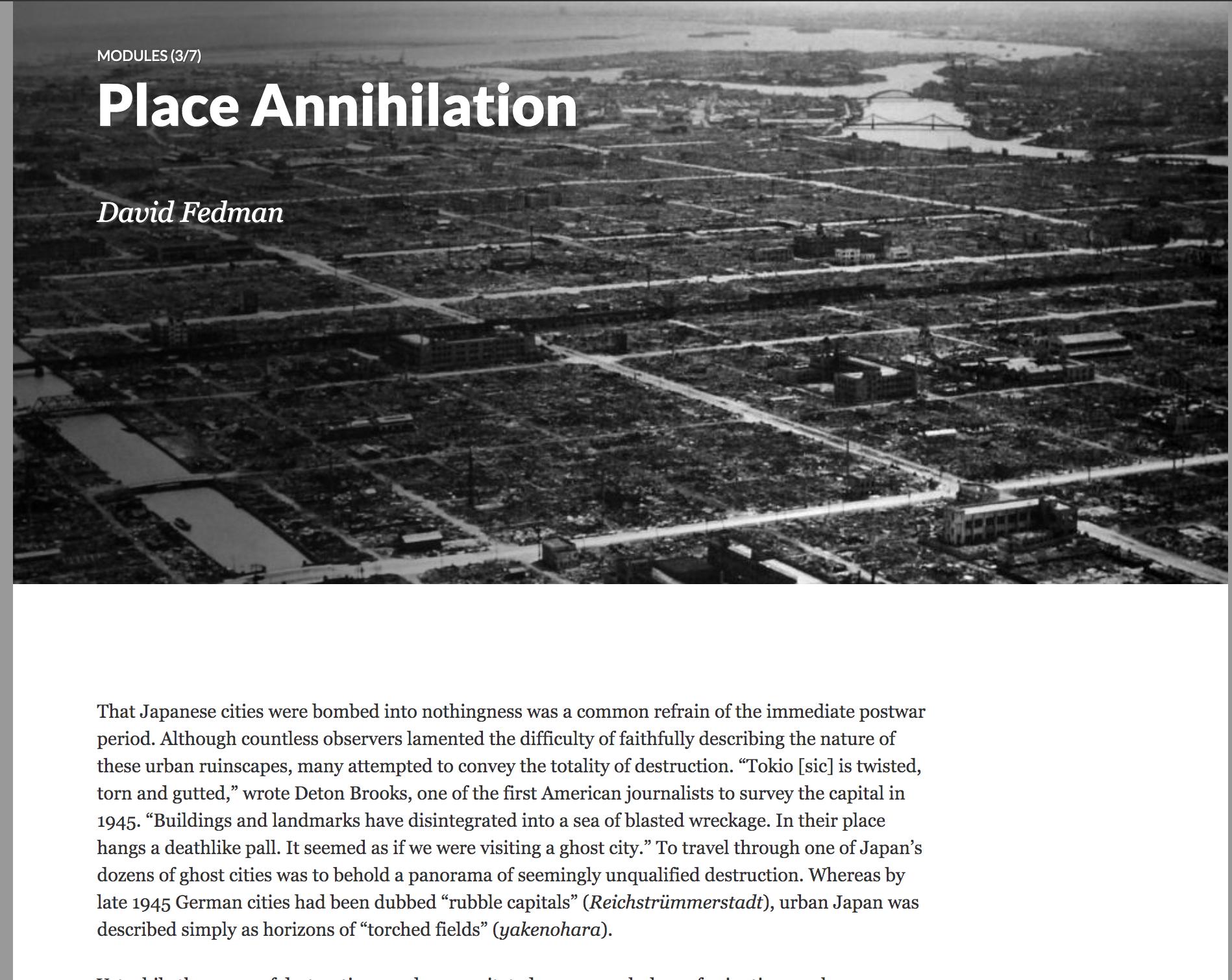 "Figure 2. The landing page for David Fedman's module ""Place Annihilation."" Credit: David Fedman."