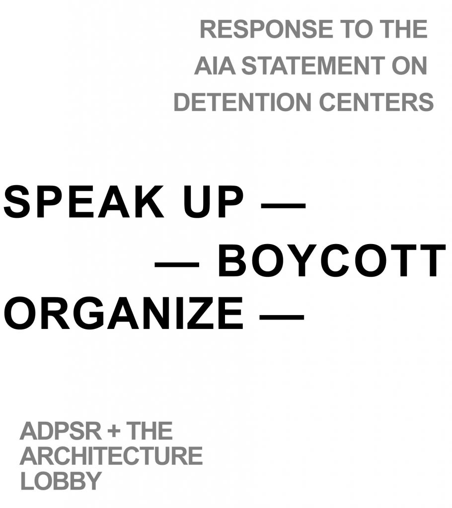 """Figure 3. """"Speak Up, Organize, Boycott,"""" July 31, 2019. Courtesy of the ADPSR and The Architecture Lobby. Graphic by Becca Book."""