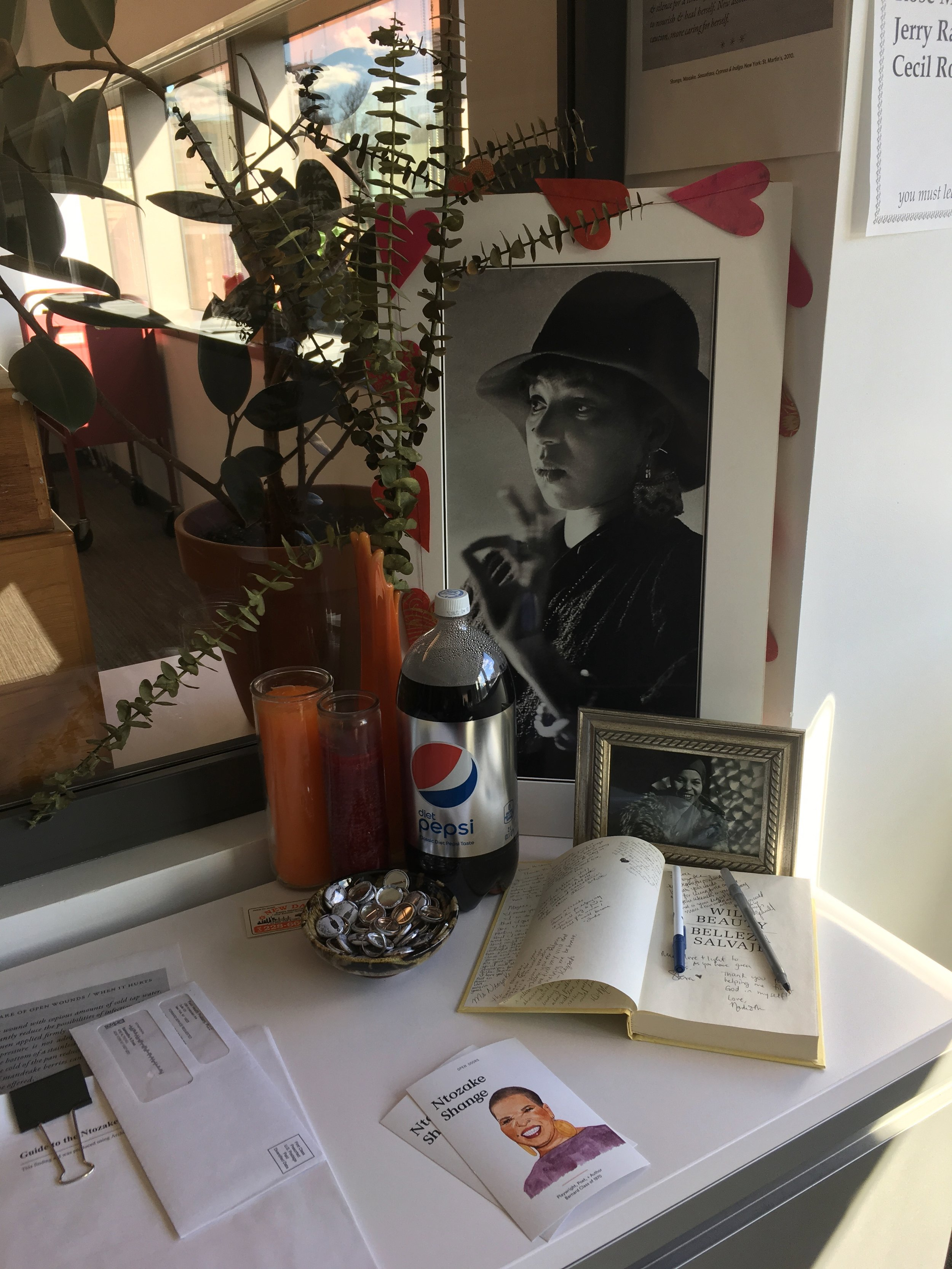 Figure 1. Ntozake Shange memorial, Barnard Archives and Special Collections, December 2018. Photograph by Anooradha Iyer Siddiqi.