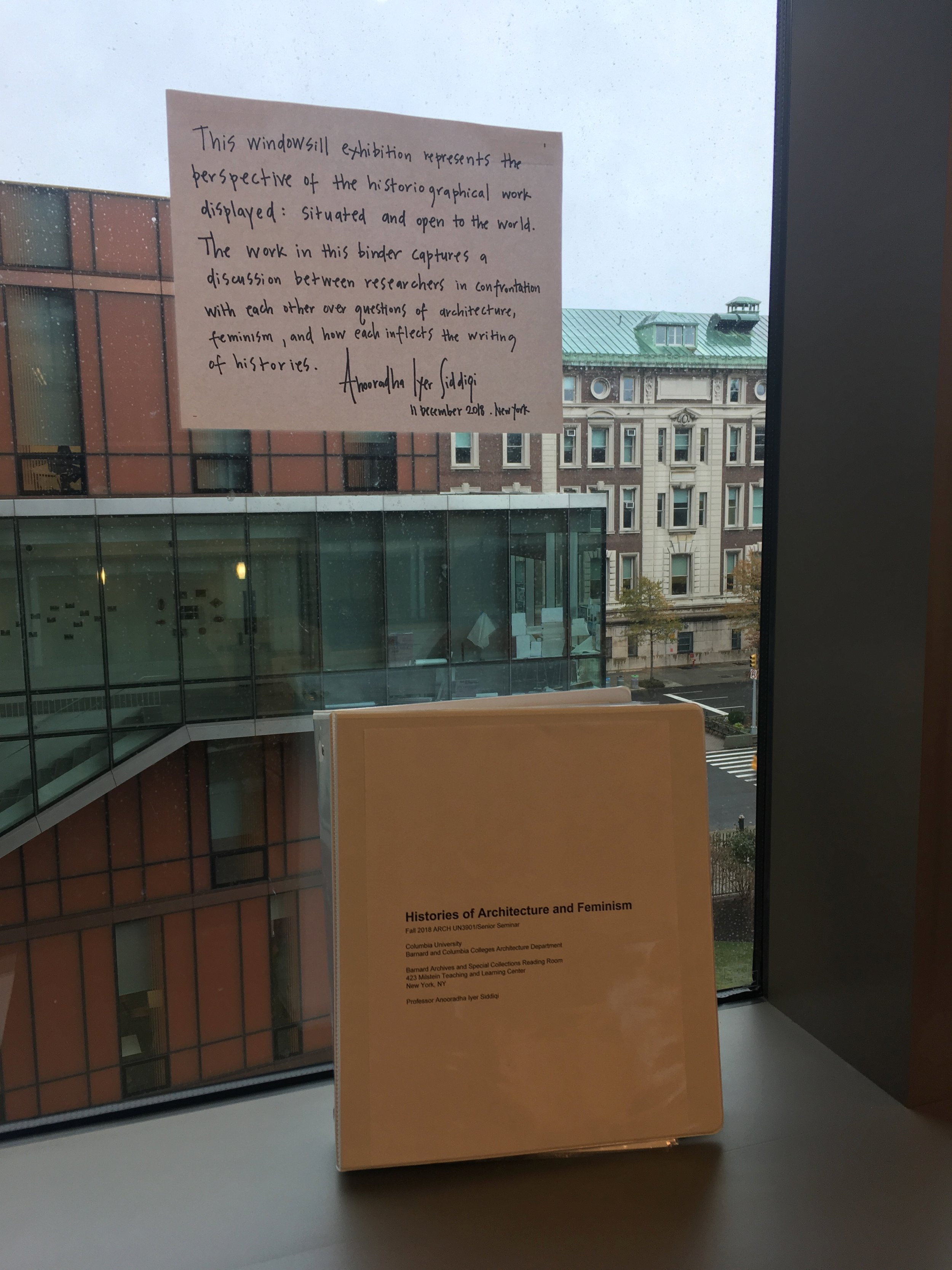 Figure 2. Histories of Architecture and Feminism windowsill exhibition, Barnard Archives and Special Collections reading room, December 2018. Photograph by Anooradha Iyer Siddiqi.