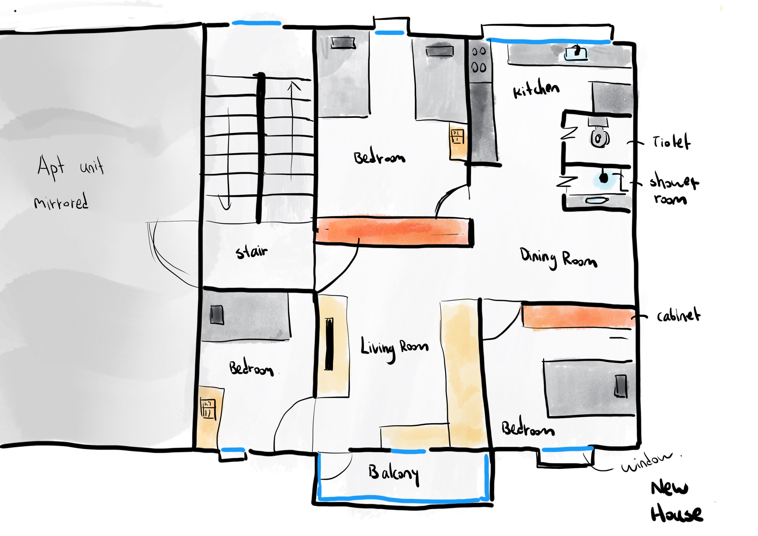 Figure 2. Plan of the new house. Drawn by JiaJun Liu, 2019.