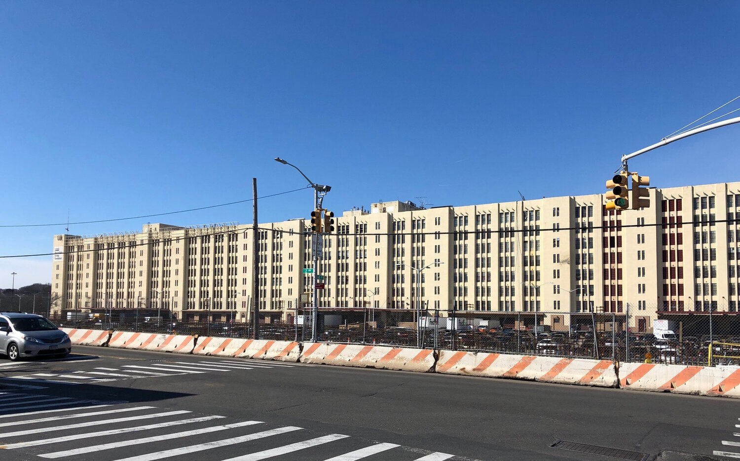 Figure 2. View of Building B from 2nd Avenue, Brooklyn Army Terminal, February 2019. Photo by Mira Rai Waits.