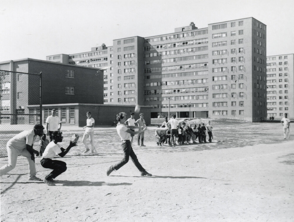 Figure 1. A baseball game taking place in DeSoto Park at the Pruitt-Igoe housing project in St. Louis, Missouri, U.S.A. Date unknown. Photograph from the State Historical Society of Missouri.