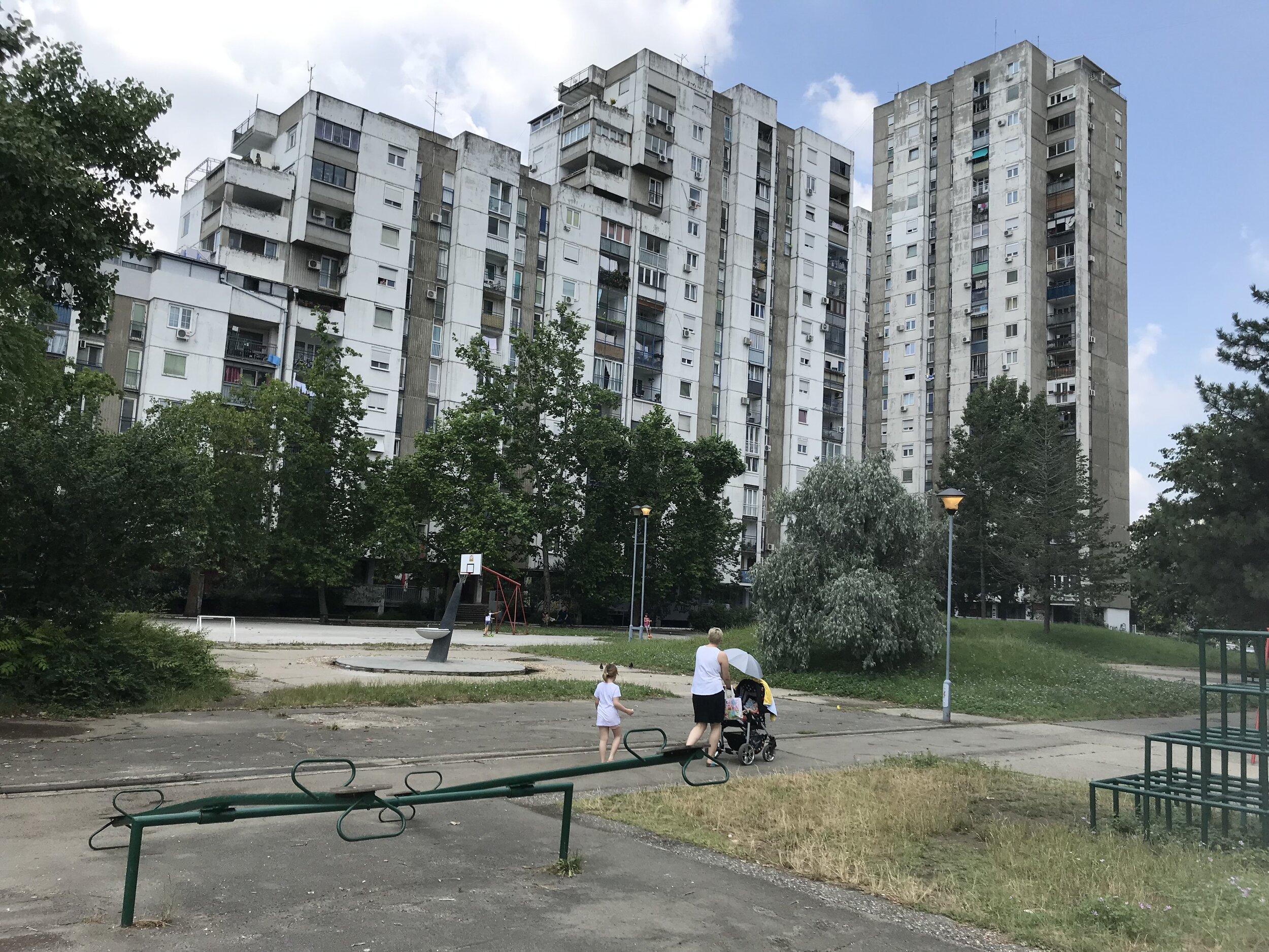 Figure 6. Bežanijski_01: View across lawn between towers in Bežanijski blokovi, Block 62, 2019. Photograph by Michael R. Allen.