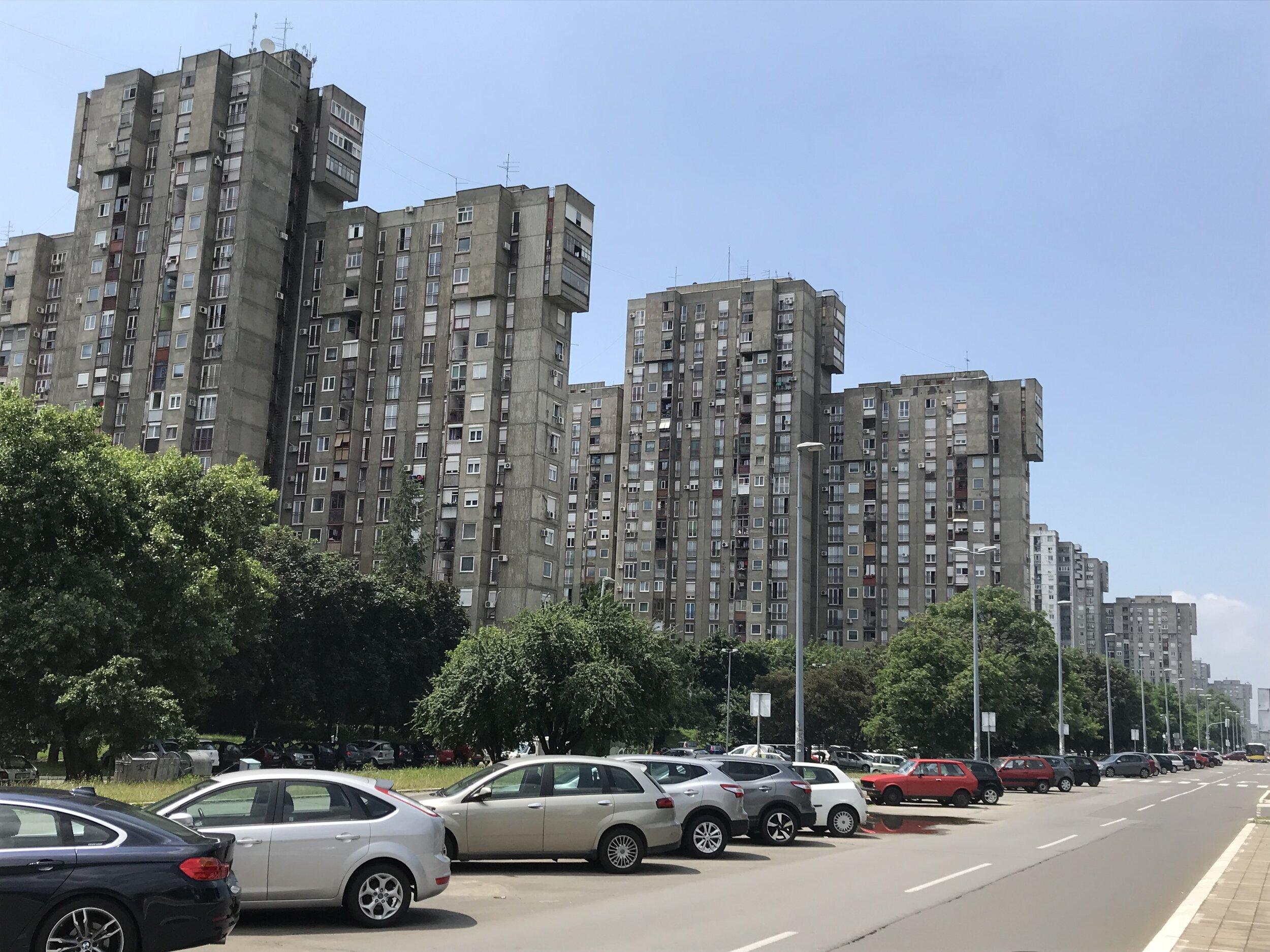 Figure 7. Bežanijski_02: Row of towers along Evrpska ulica, Bežanijski blokovi, 2019. Photograph by Michael R. Allen.