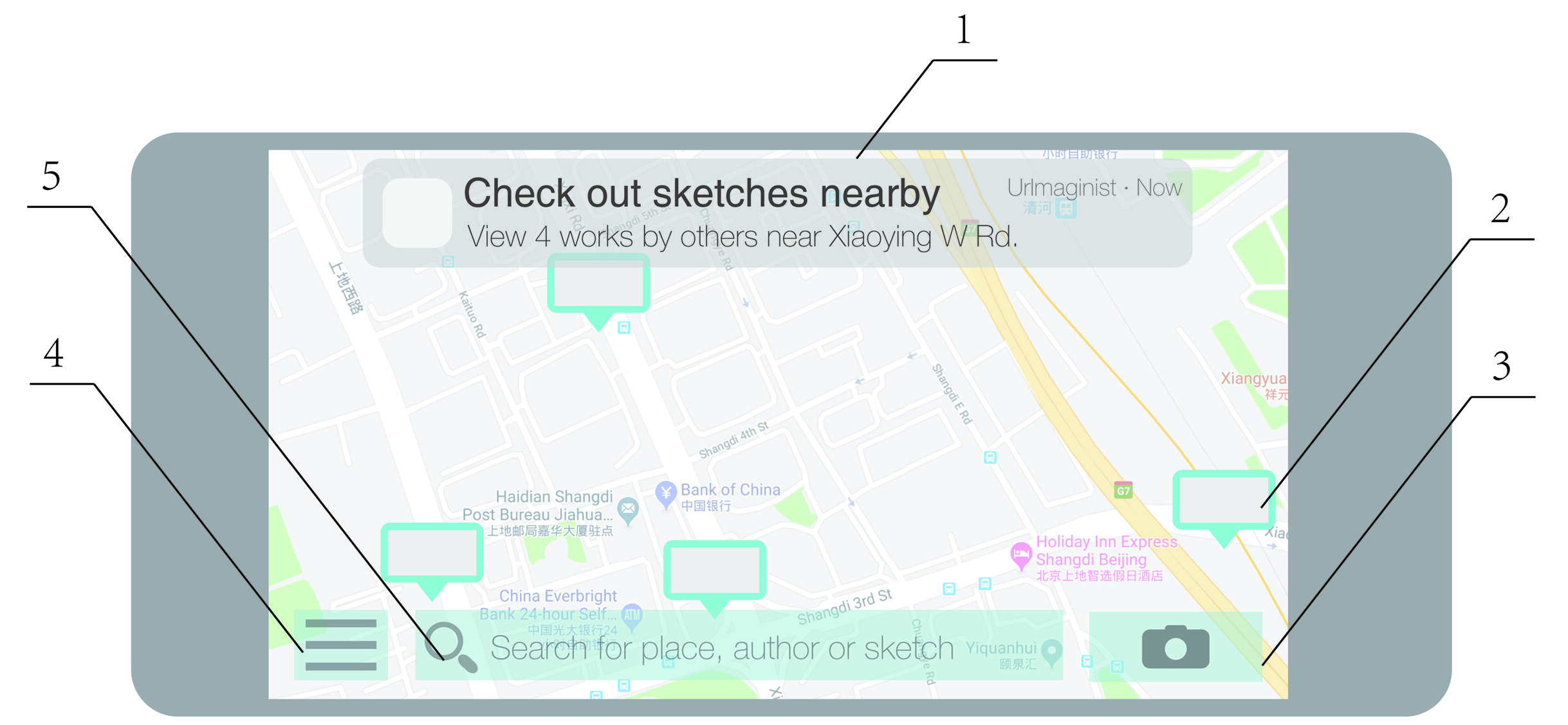 Figure 3. UrImaginist: the main interface with embedded map. 1: System push-message notifying drawings nearby; 2: marks indicating drawings on map; 3: button to enter camera mode as shown in Figures 1 and 2; 4: settings menu; 5: search for drawings by location, author, title or date. Copyright: Sicheng Wang, 2019.