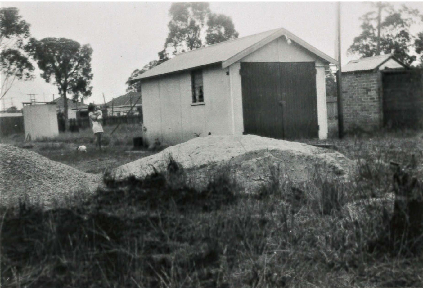 Figure 3. The Turtles' owner-built garage in Fairfield, outside Sydney, Australia, 1952. Source: Laurie Turtle.