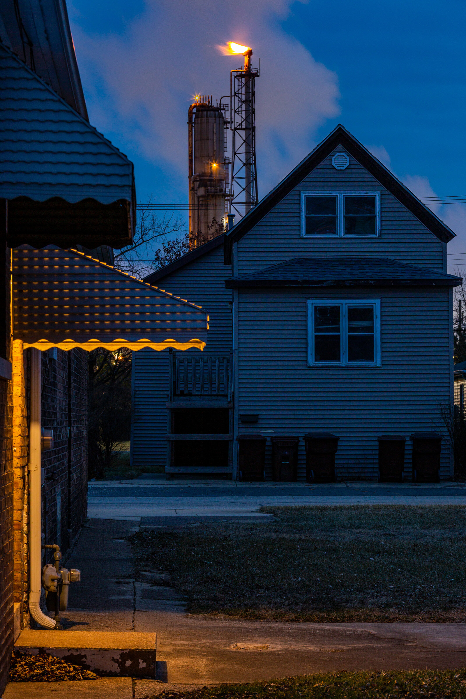 Figure 1. Whiting Refinery and Houses at Dusk, January 2019. Photograph by Matthew Kaplan.
