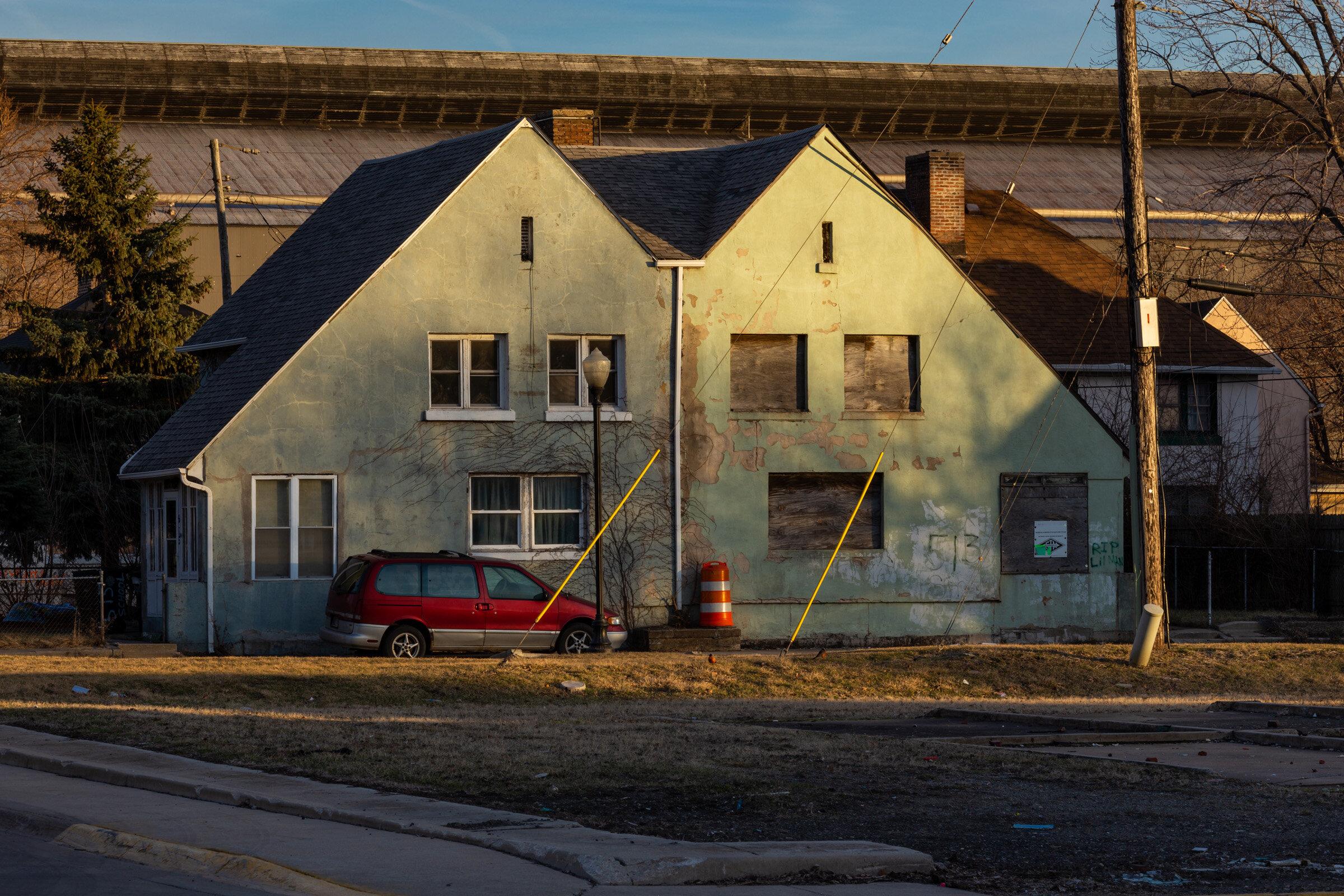 Figure 5. Marktown Duplex with ArcelorMittal Steel Mill Building, March 2019. Photograph by Matthew Kaplan.