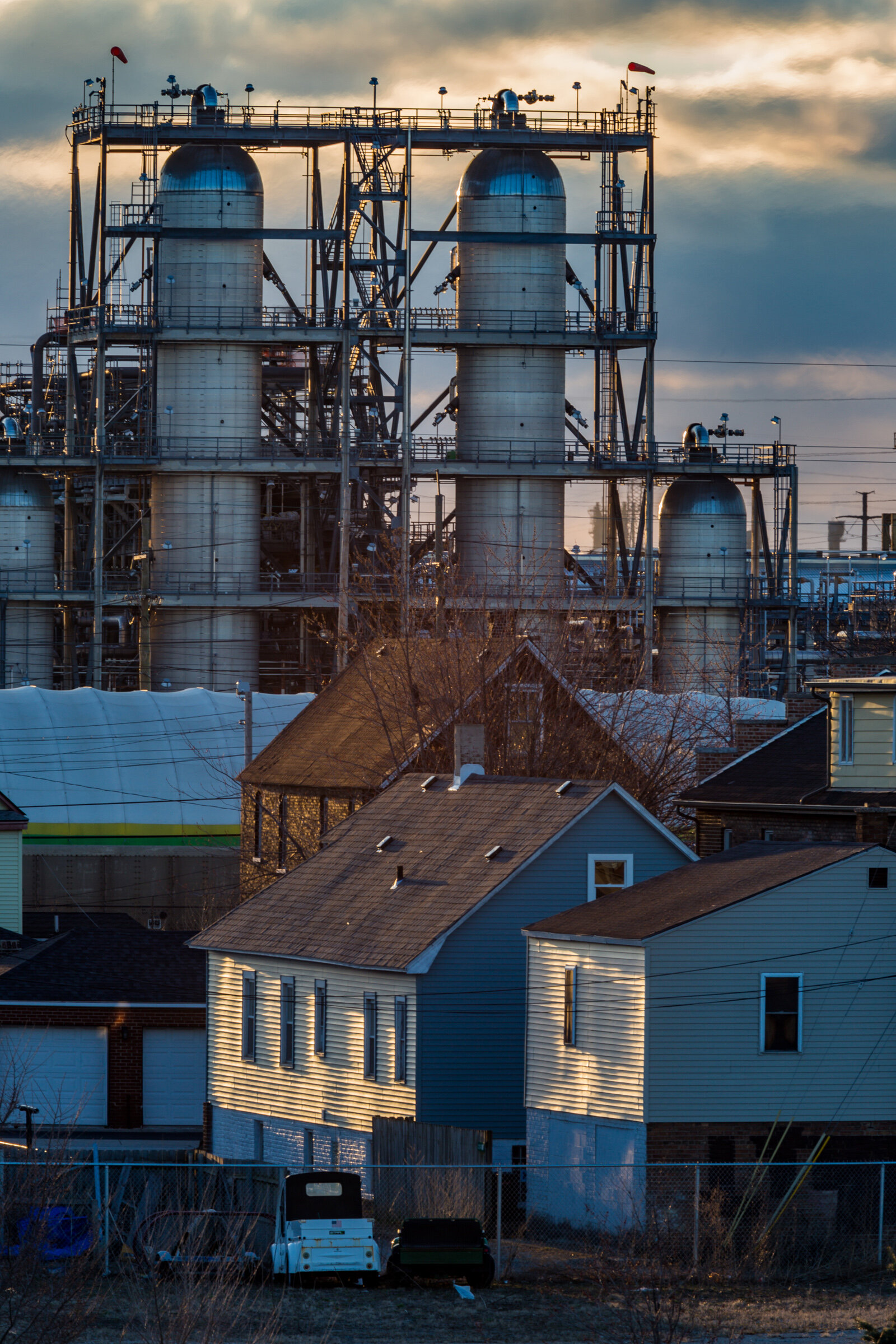Figure 13. Sunrise at Whiting Refinery, March 2019. Photograph by Matthew Kaplan.