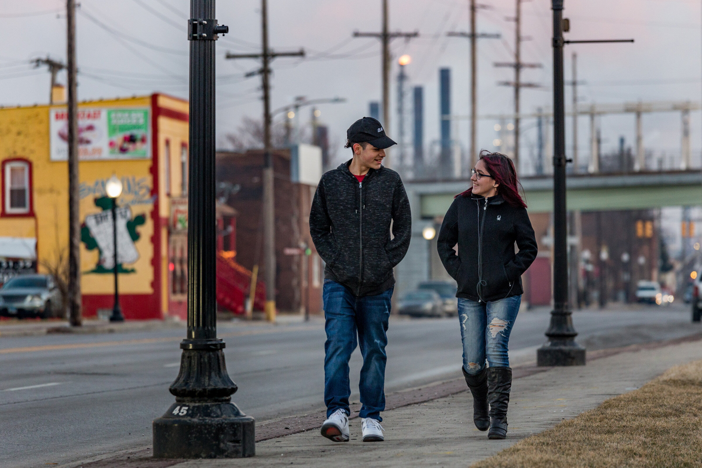 Figure 20. Teens in Whiting, near the BP Refinery, February 2019. Photograph by Matthew Kaplan.